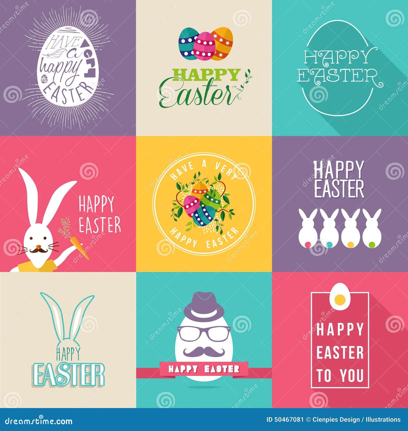 Sistema de etiquetas plano feliz del diseño de Pascua
