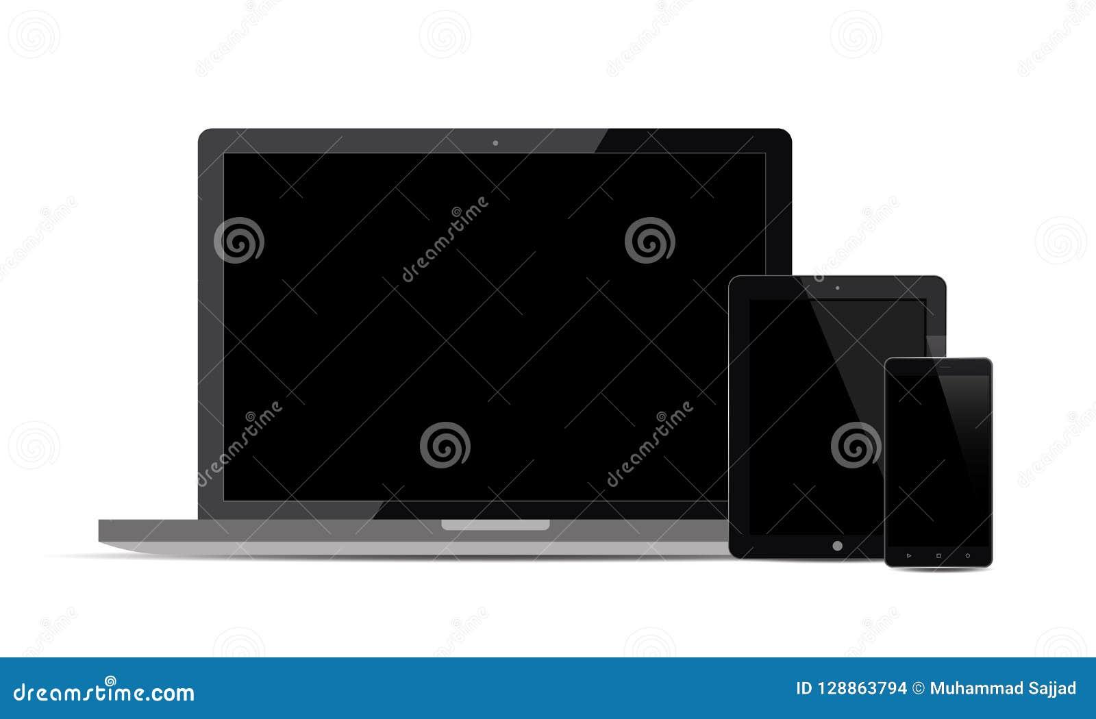 Sistema de exhibición realista del monitor de Android Lcd TV de la tableta de Ipad del teléfono móvil de Android del vector