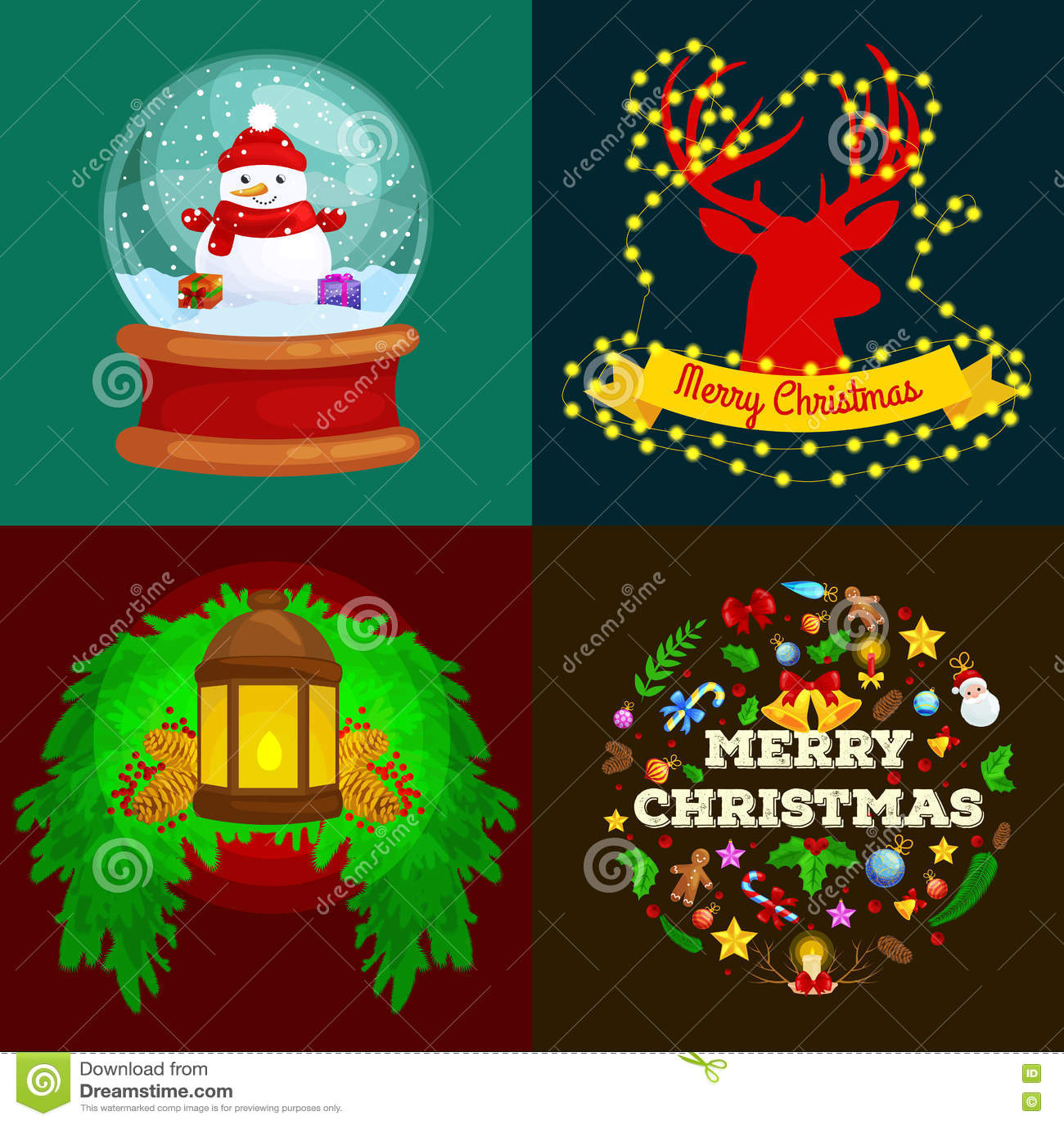 Sistema de Feliz Navidad de las tarjetas de felicitación y una Feliz Año Nuevo con una linterna, las luces en las astas del reno,