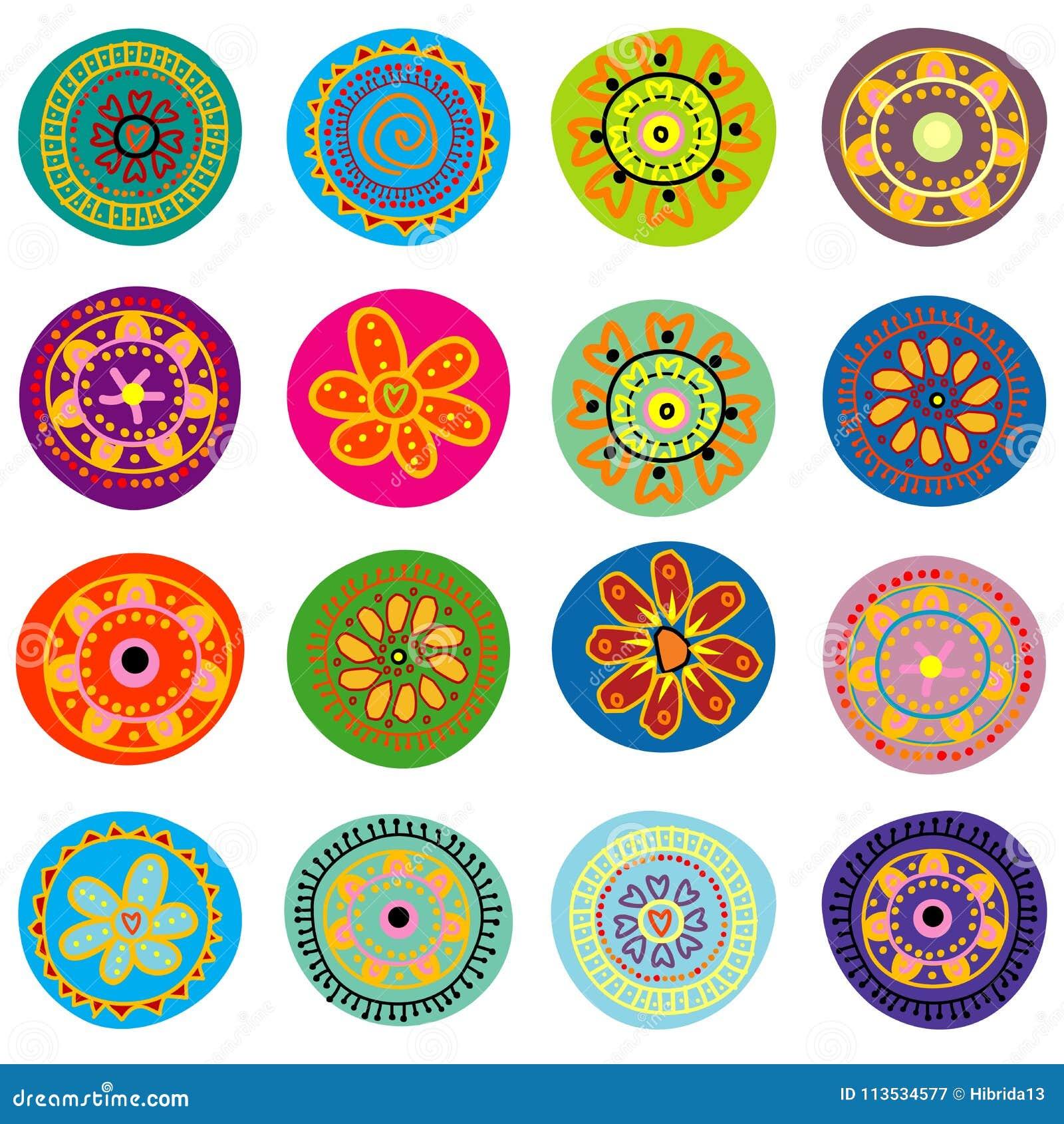 Sistema De Flores Infantiles Ilustracion Del Vector Ilustracion De