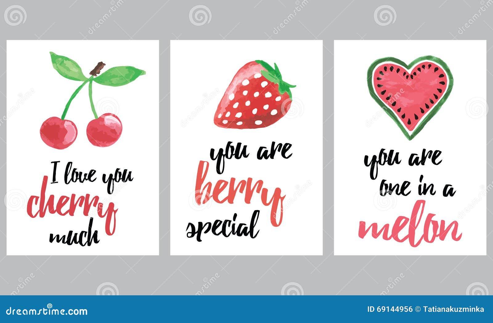 Sistema de folletos con las frutas y las bayas Las banderas dibujadas mano de las frutas del vector fijadas con la inspiración ci