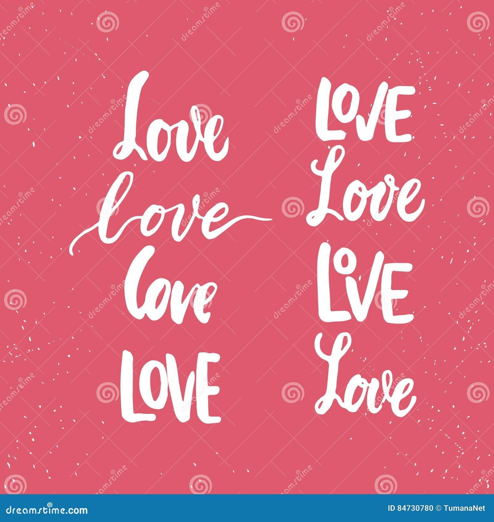 Sistema de frases dibujadas mano de las letras de día de las tarjetas del día de San Valentín del santo sobre amor La foto sobrep