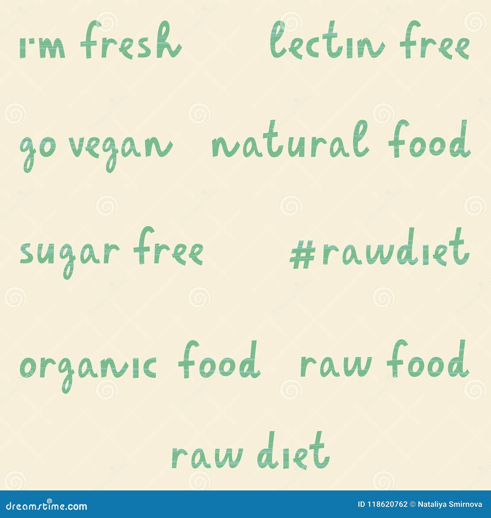 Sistema De Frases Vegetarianas Ilustración Del Vector