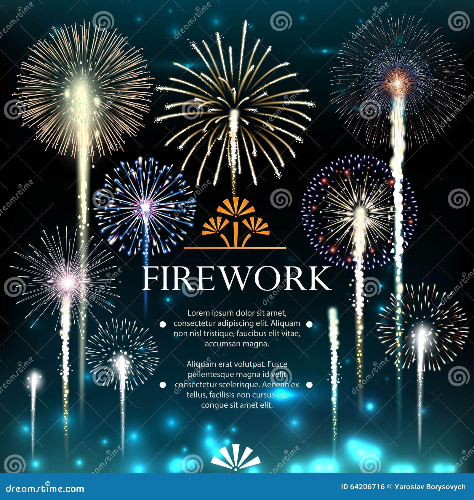 Sistema de fuegos artificiales, bandera festiva, invitación a un día de fiesta
