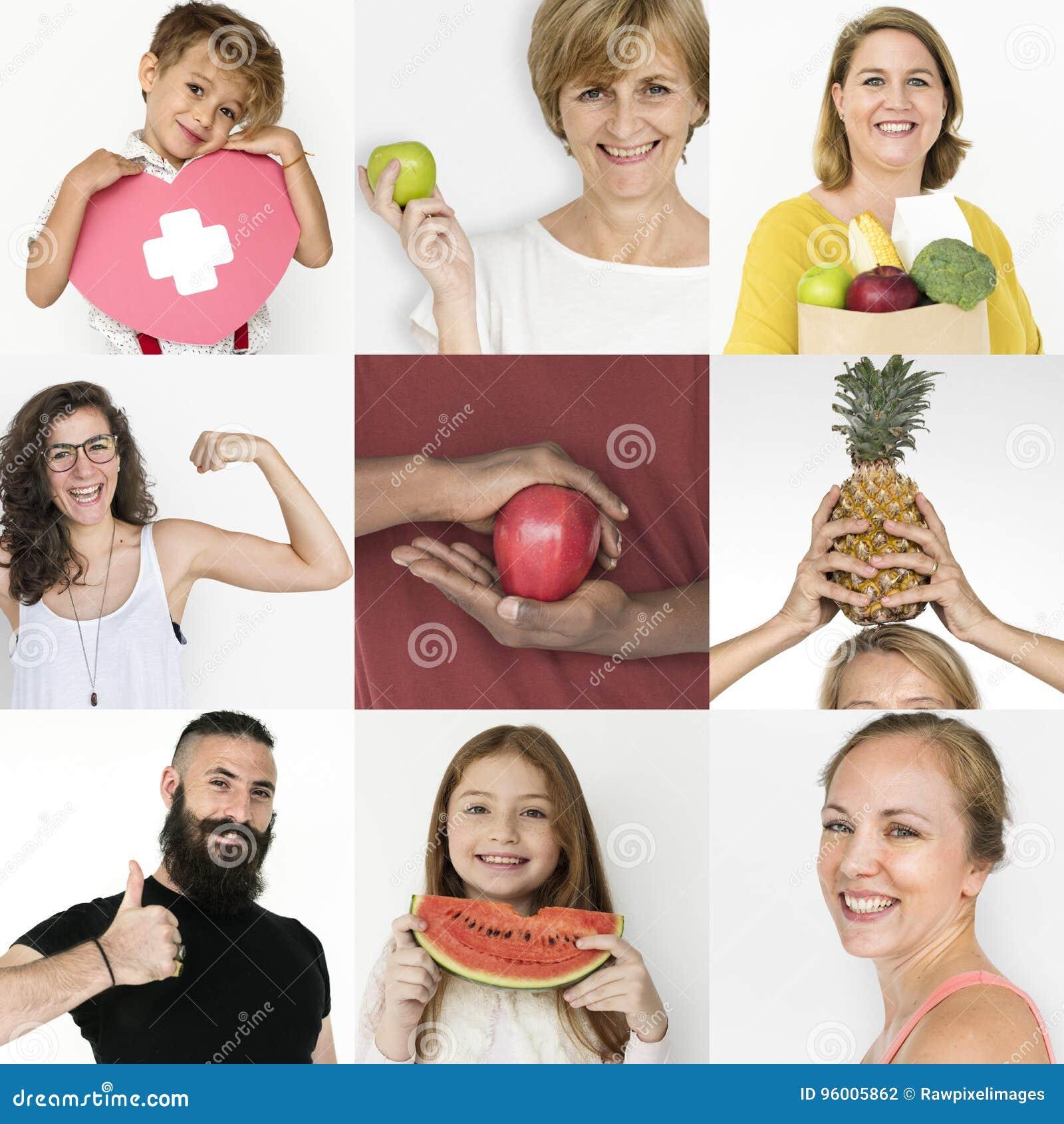 Sistema de gente de la diversidad con collage vivo sano del estudio del estilo