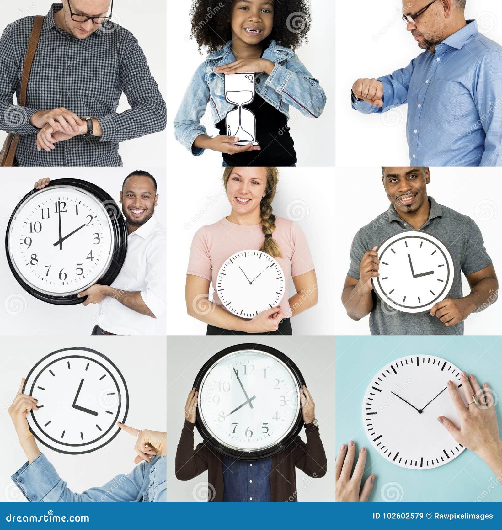 Sistema de gente diversa con collage del estudio de la gestión de tiempo