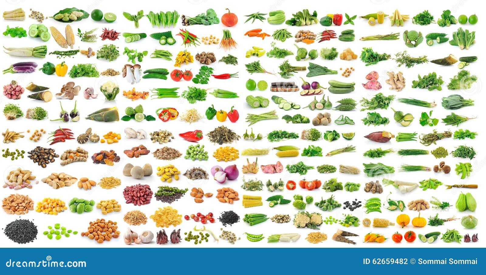 Sistema de granos y de la verdura en el fondo blanco
