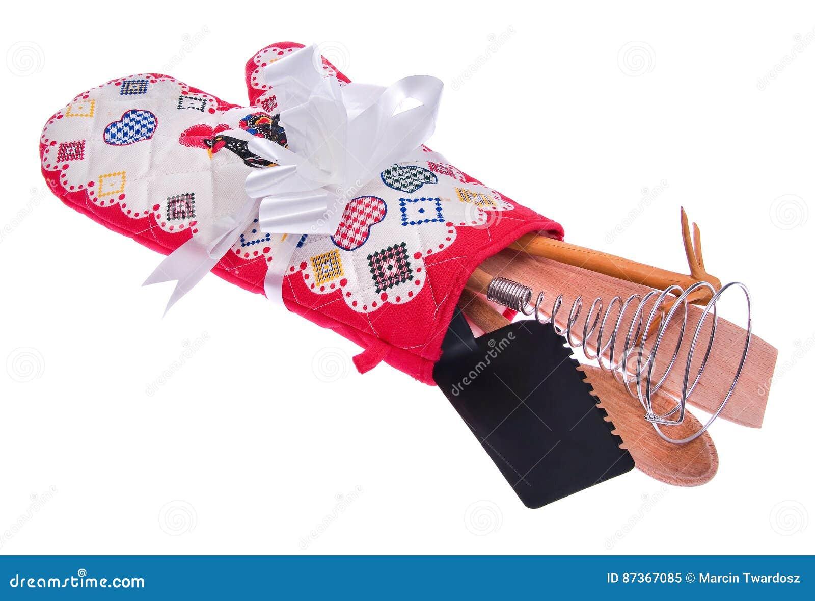Sistema de herramienta de la cocina: guante del horno, una cuchara de madera, spoonbill rosado,