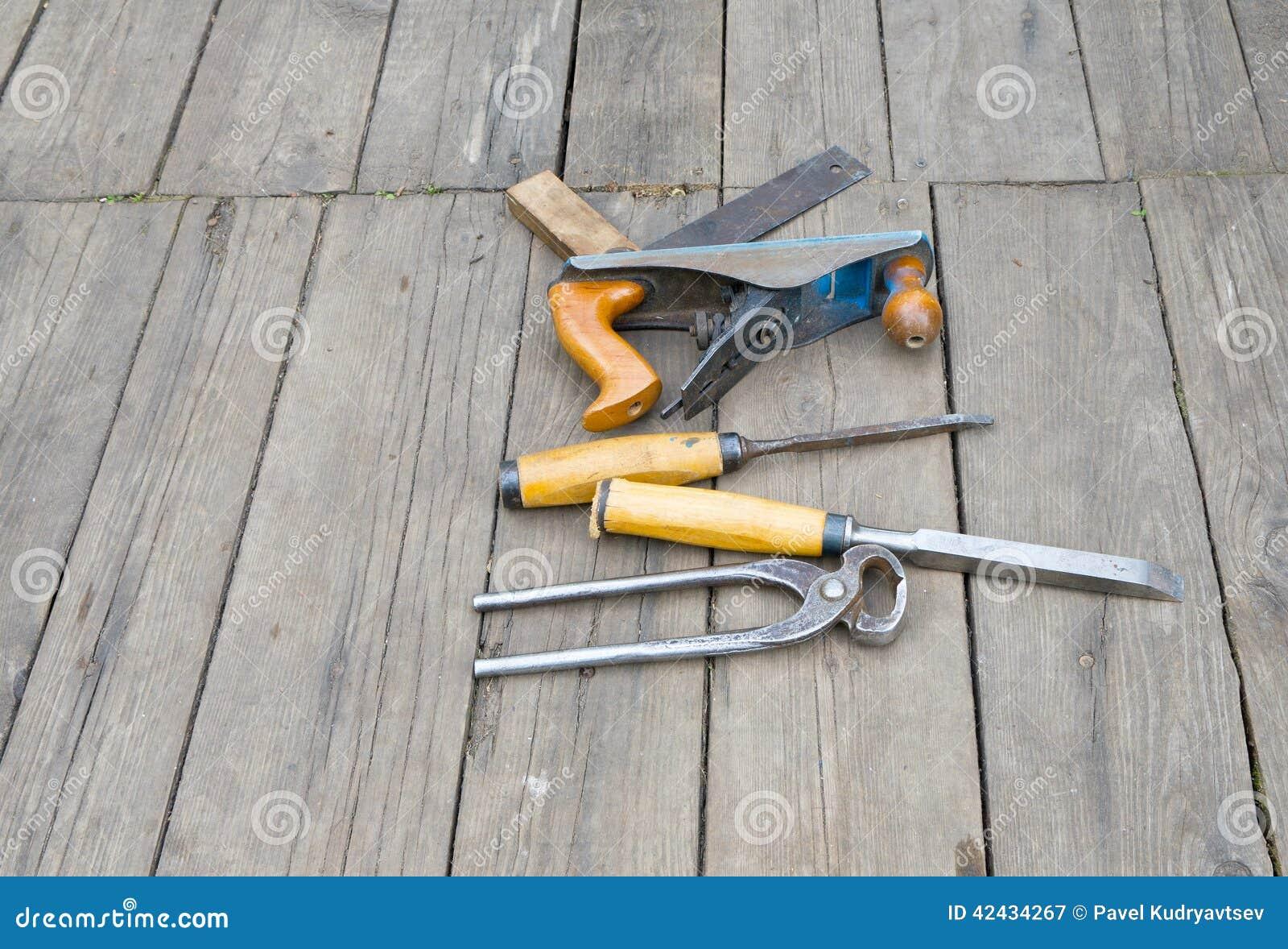 Sistema de herramientas del carpintero del vintage