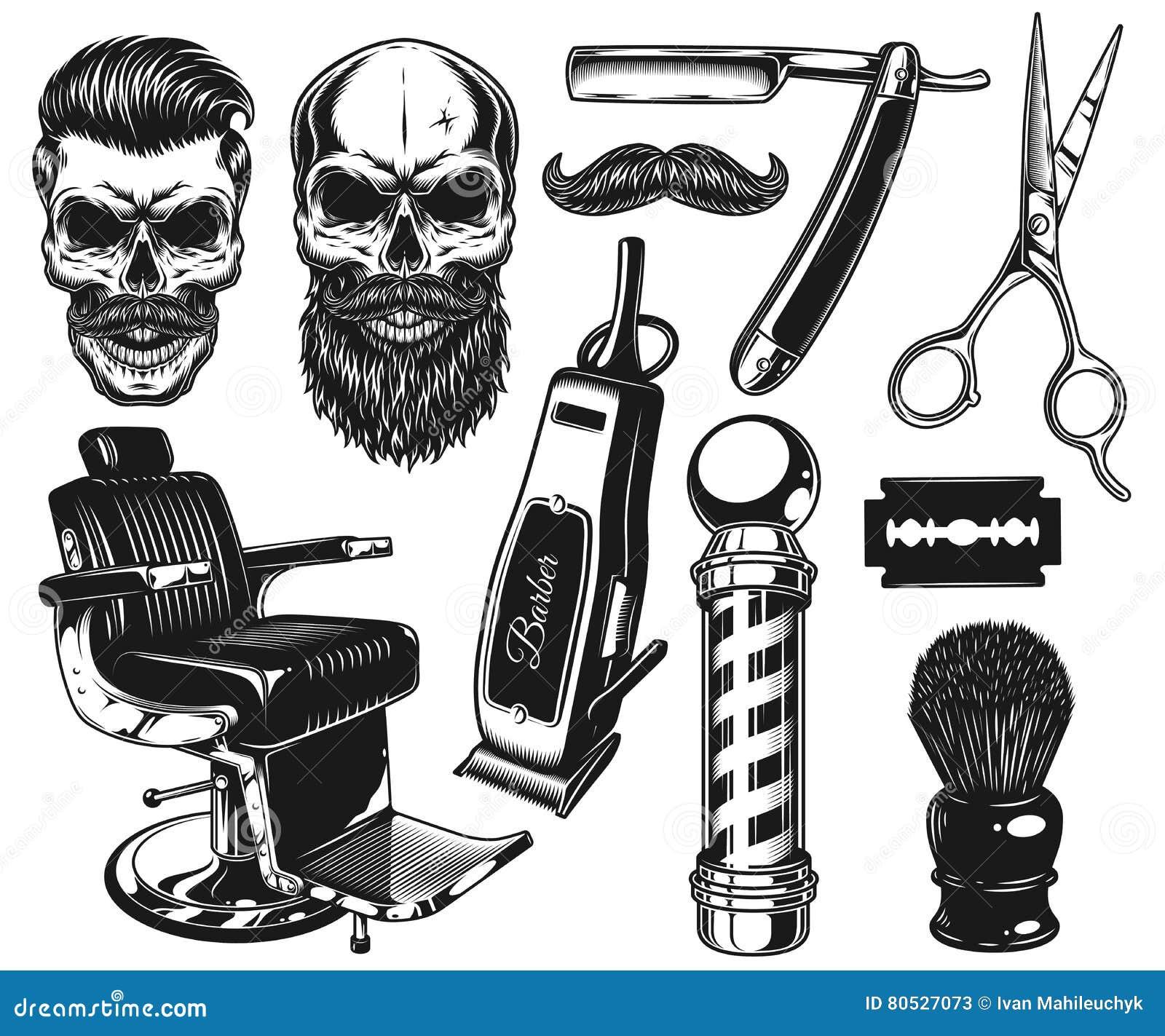 Sistema de herramientas y de elementos monocromáticos del peluquero del vintage