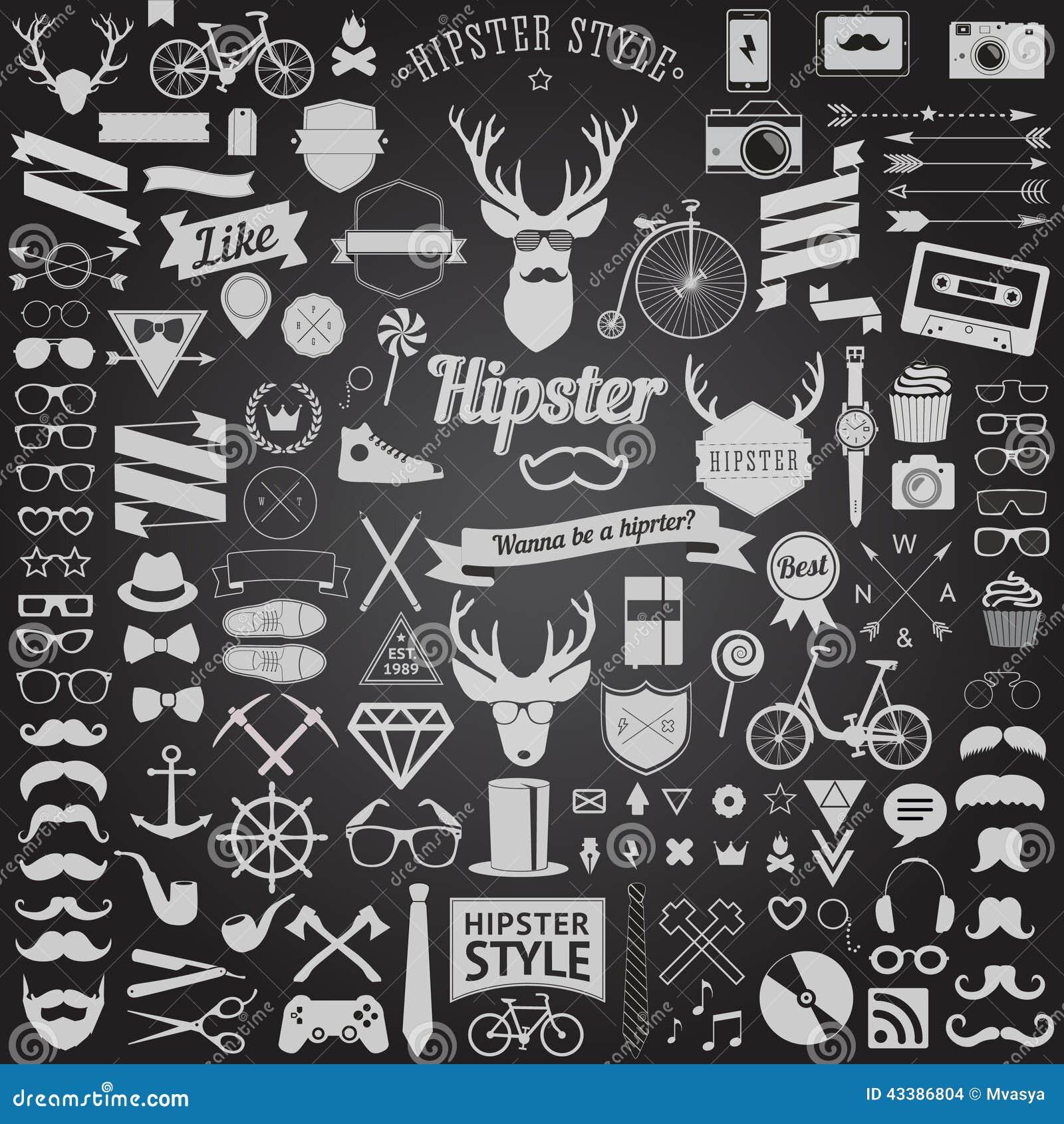 Sistema de iconos diseñados vintage del inconformista del diseño Muestras del vector y plantillas de los símbolos