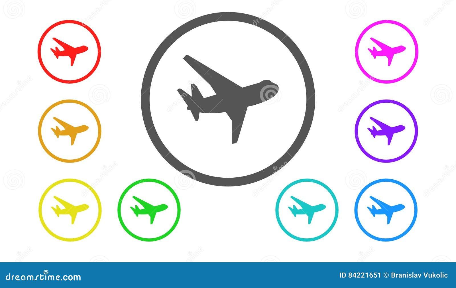 Sistema De Iconos En El Color, Ejemplo, Aviones Stock de ilustración ...
