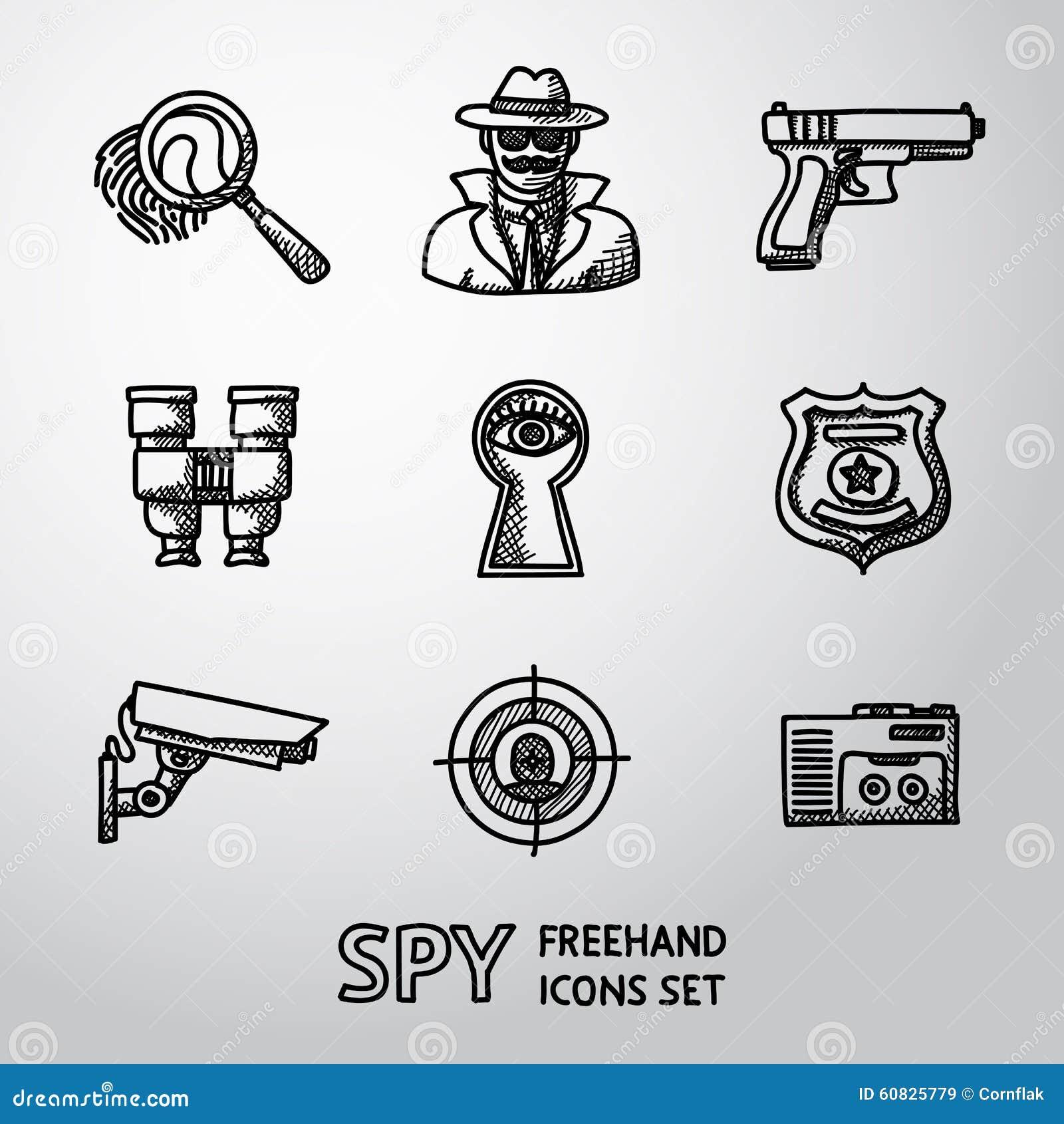 Sistema de iconos handdrawn del espía - huella dactilar, espía, arma