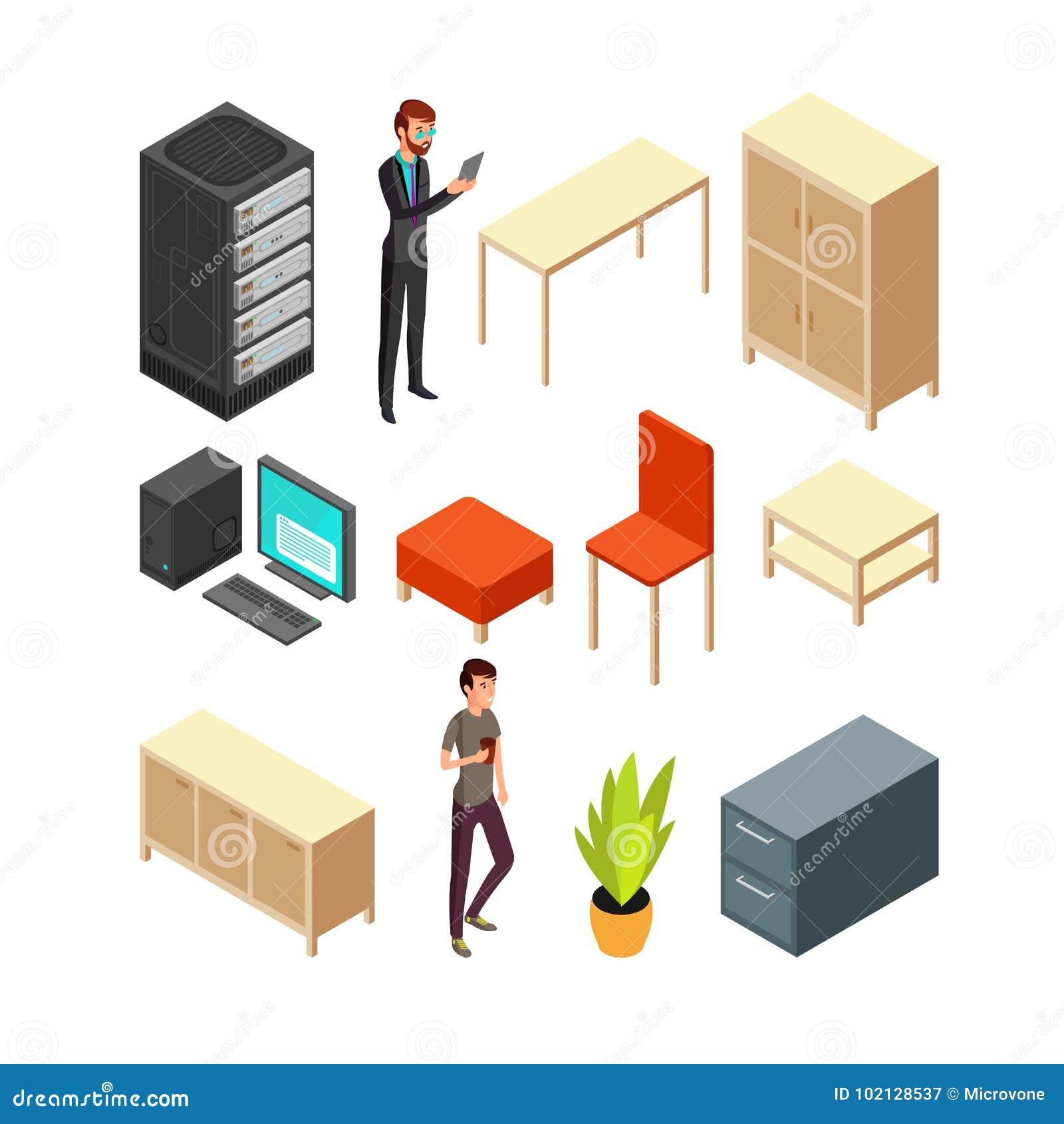 Sistema de iconos isométricos de la oficina Estante del servidor, tabla, butaca, ordenador, tabla, armario