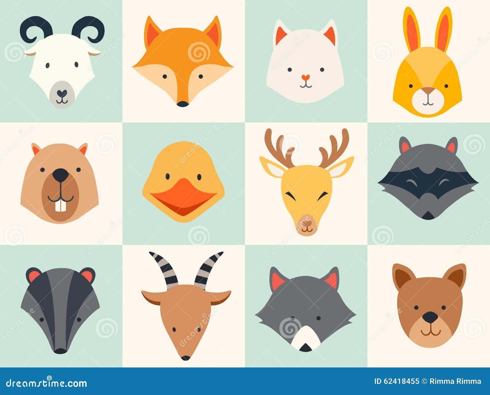 Sistema de iconos lindos de los animales