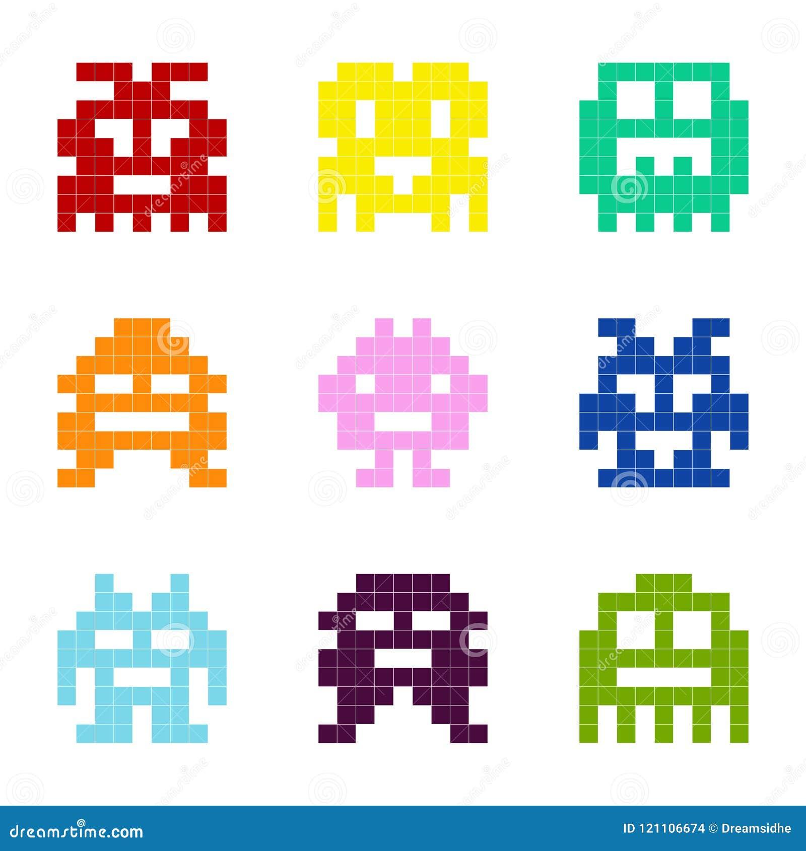 Sistema de iconos monocromáticos con los monstruos del pixel