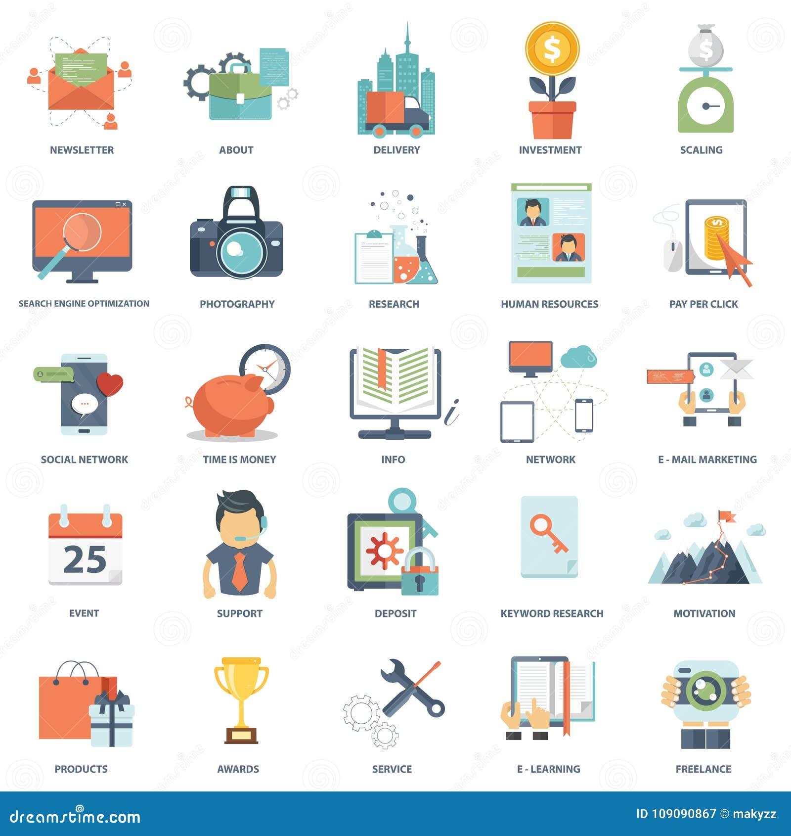 Sistema de iconos planos modernos de los gráficos de la información de vector del negocio del diseño