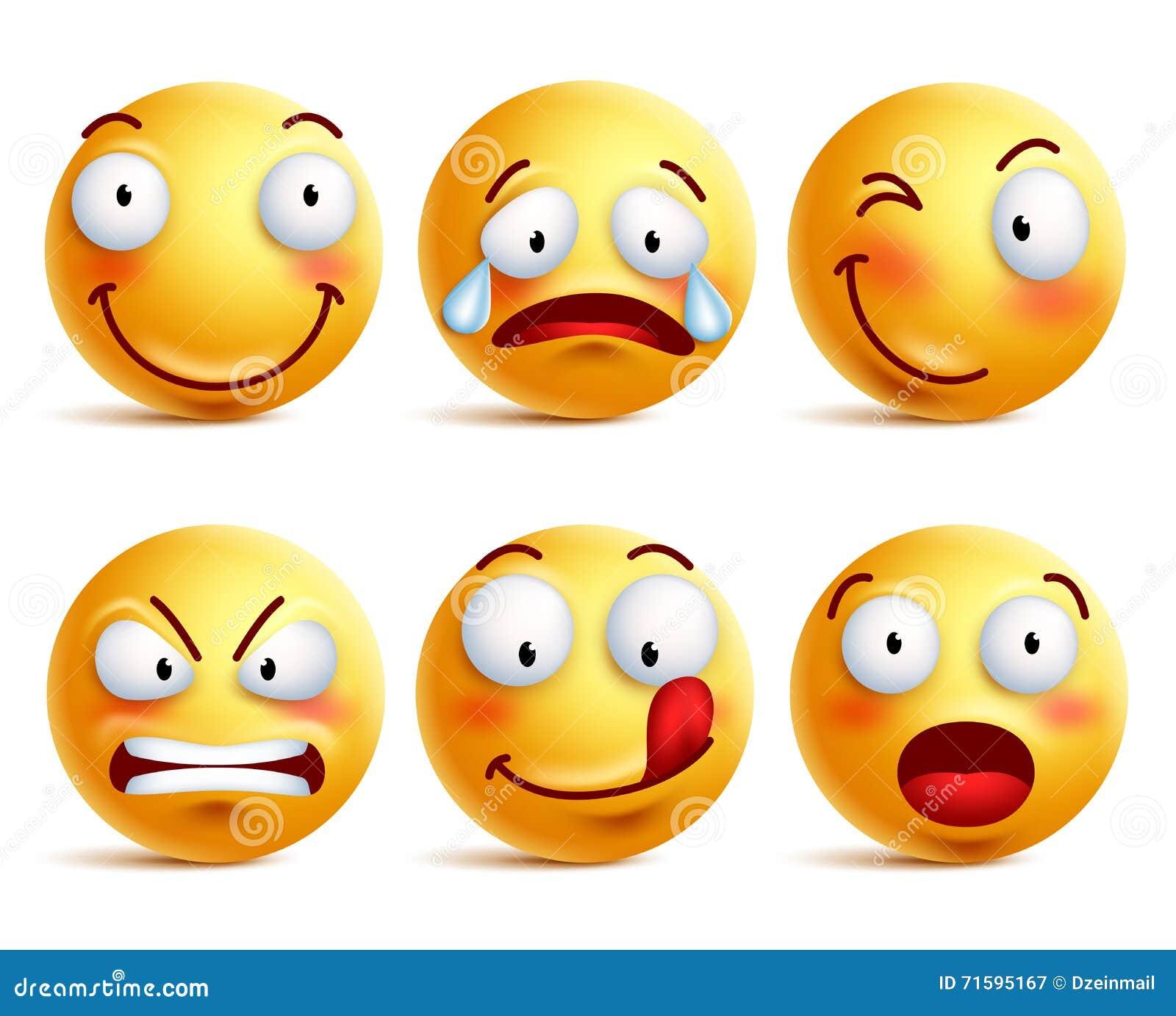 Sistema de iconos sonrientes de la cara o de emoticons amarillos con diversas expresiones faciales