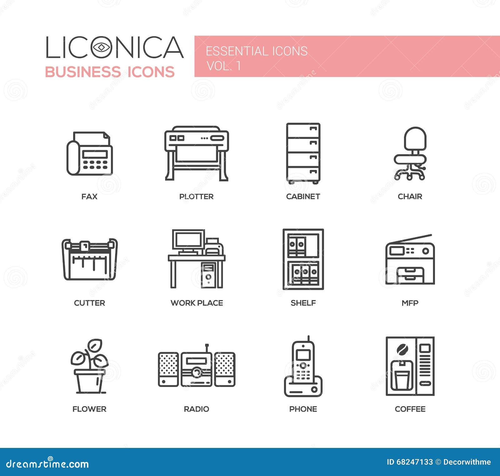 Sistema De Iconos Y De Pictogramas Planos Del Dise O De La