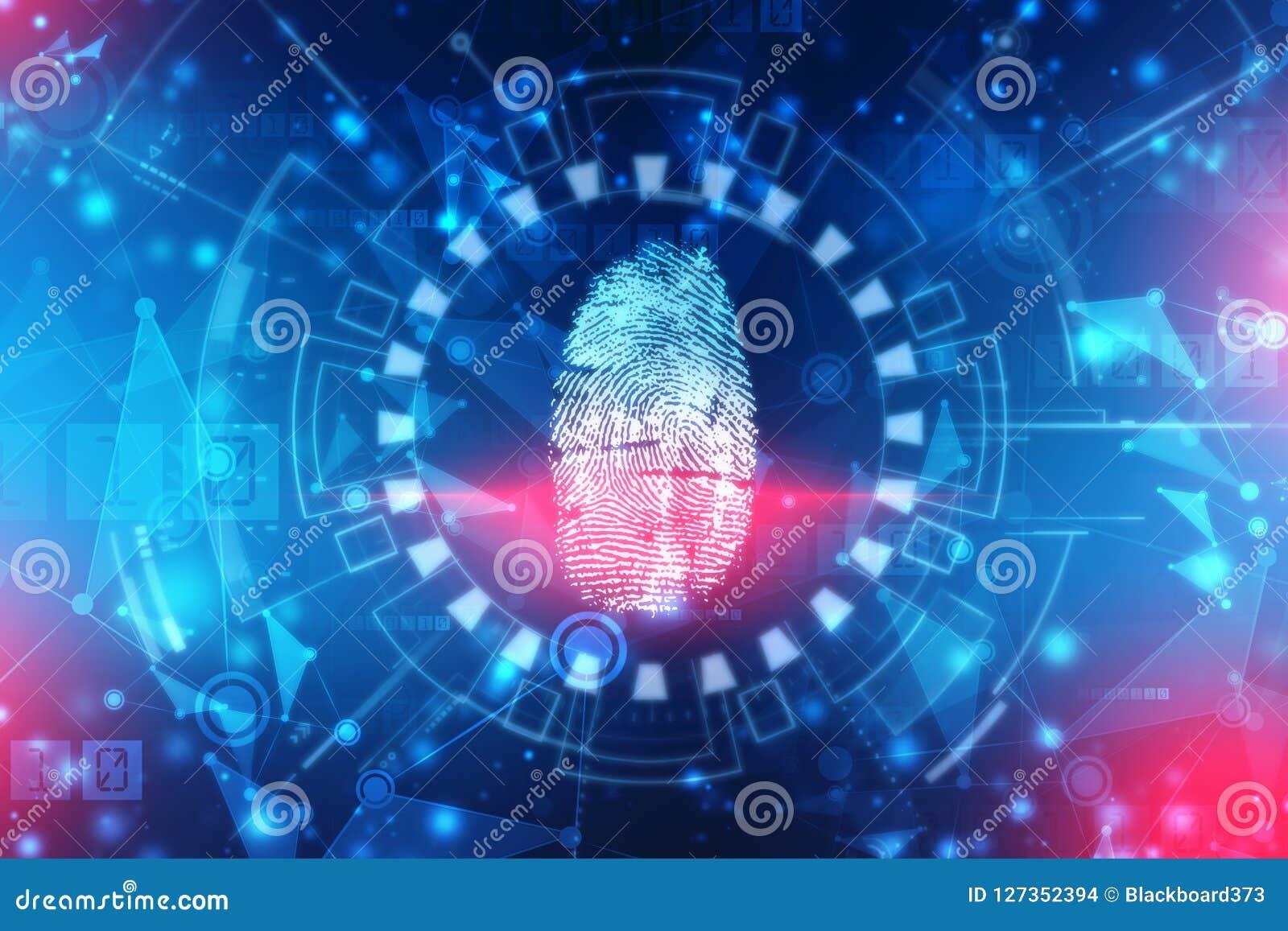 Sistema de identificação da exploração da impressão digital Conceito biométrico da segurança da autorização e do negócio