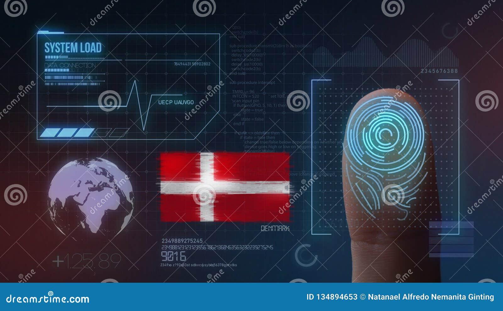 Sistema de identificación de exploración biométrico de la huella dactilar Nacionalidad de Dinamarca