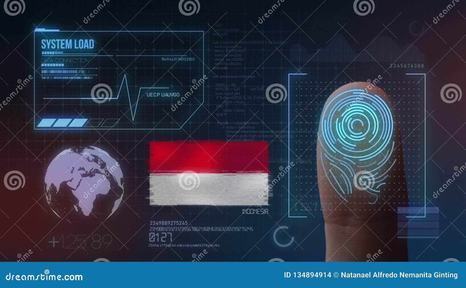 Sistema de identificación de exploración biométrico de la huella dactilar Nacionalidad de Indonesia