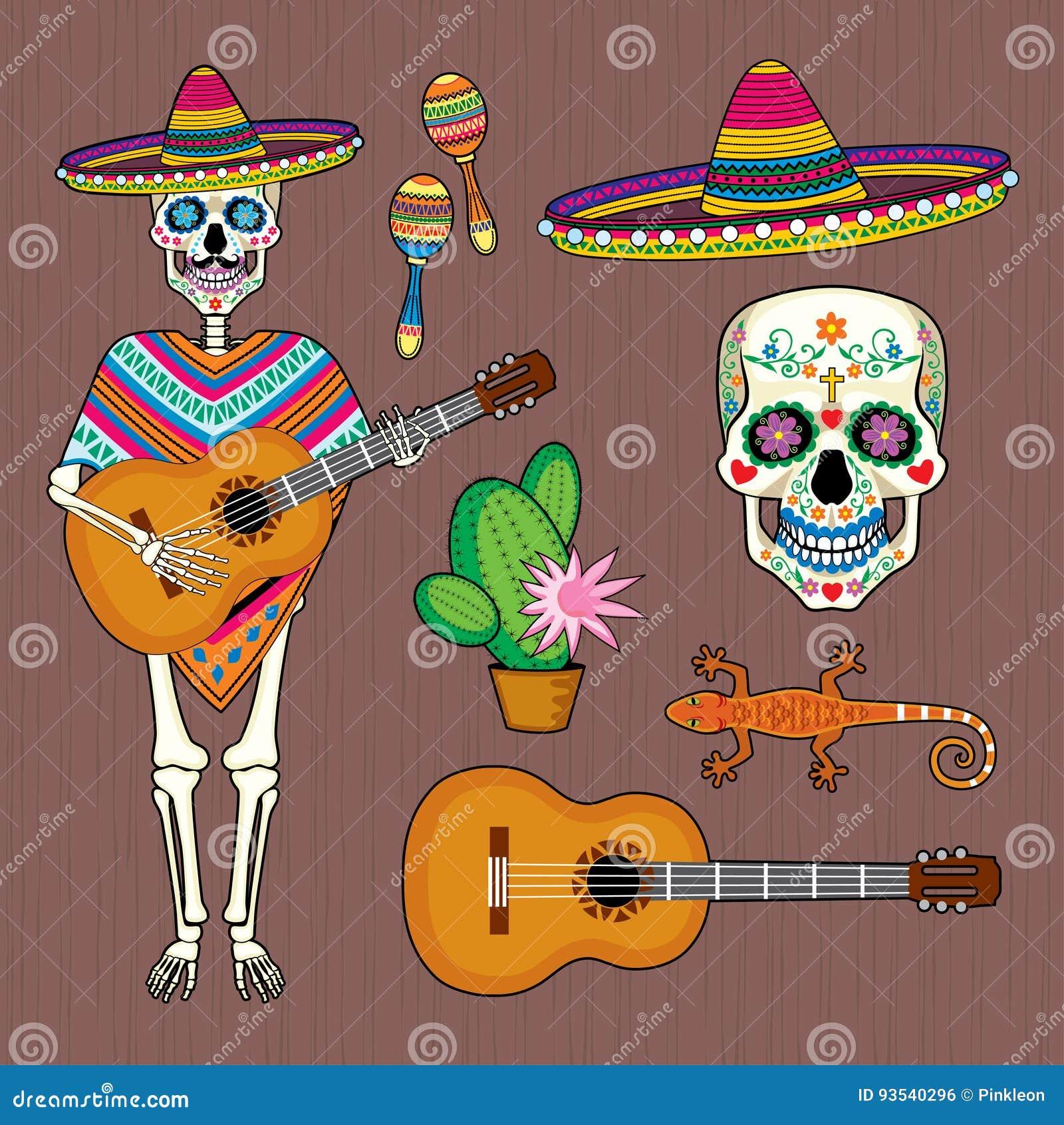 Sistema De Imágenes De La Cultura Mexicana Con El Cráneo Calavera