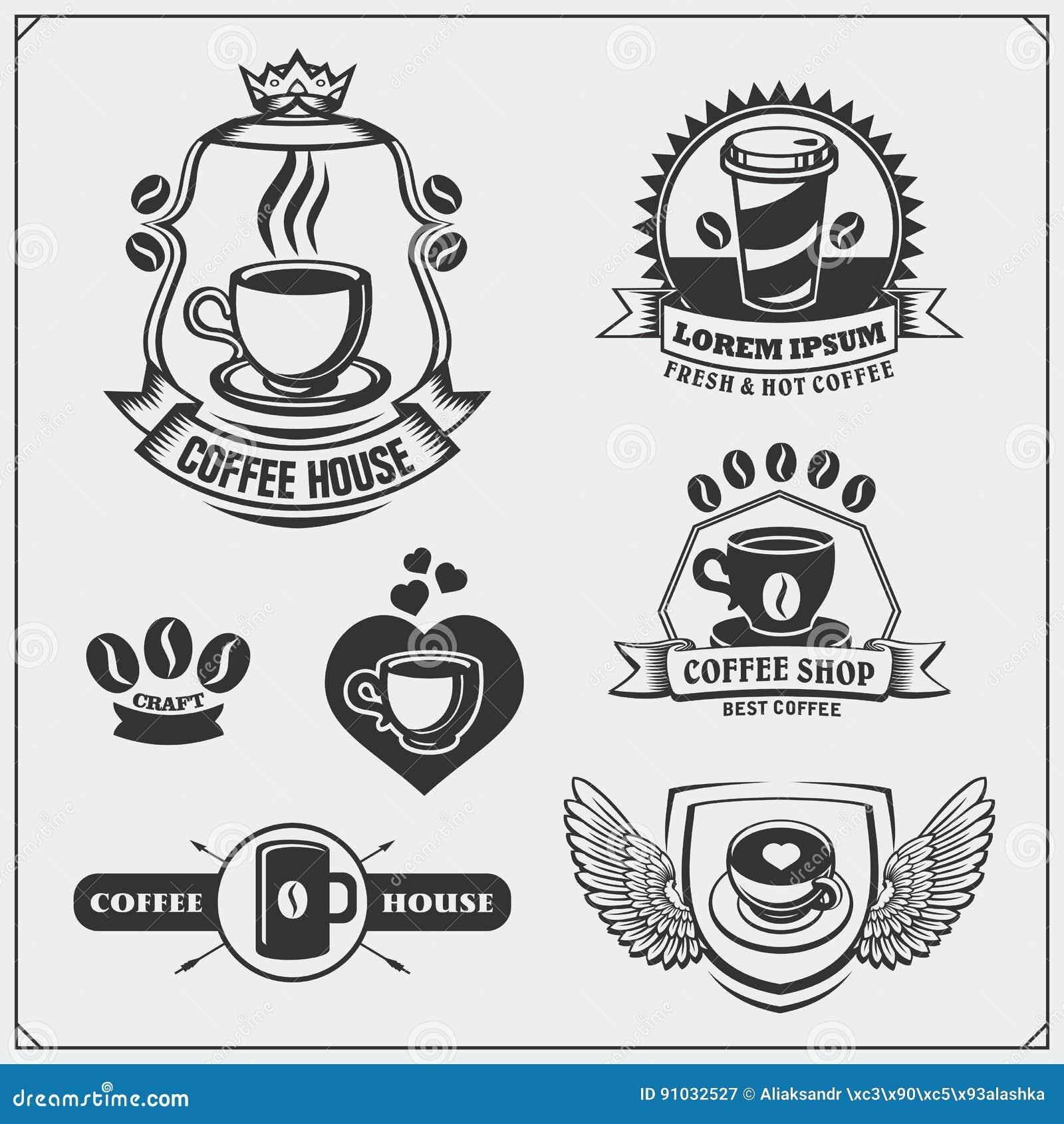 Sistema De Insignias Del Café, De Etiquetas Y De Elementos Del ...