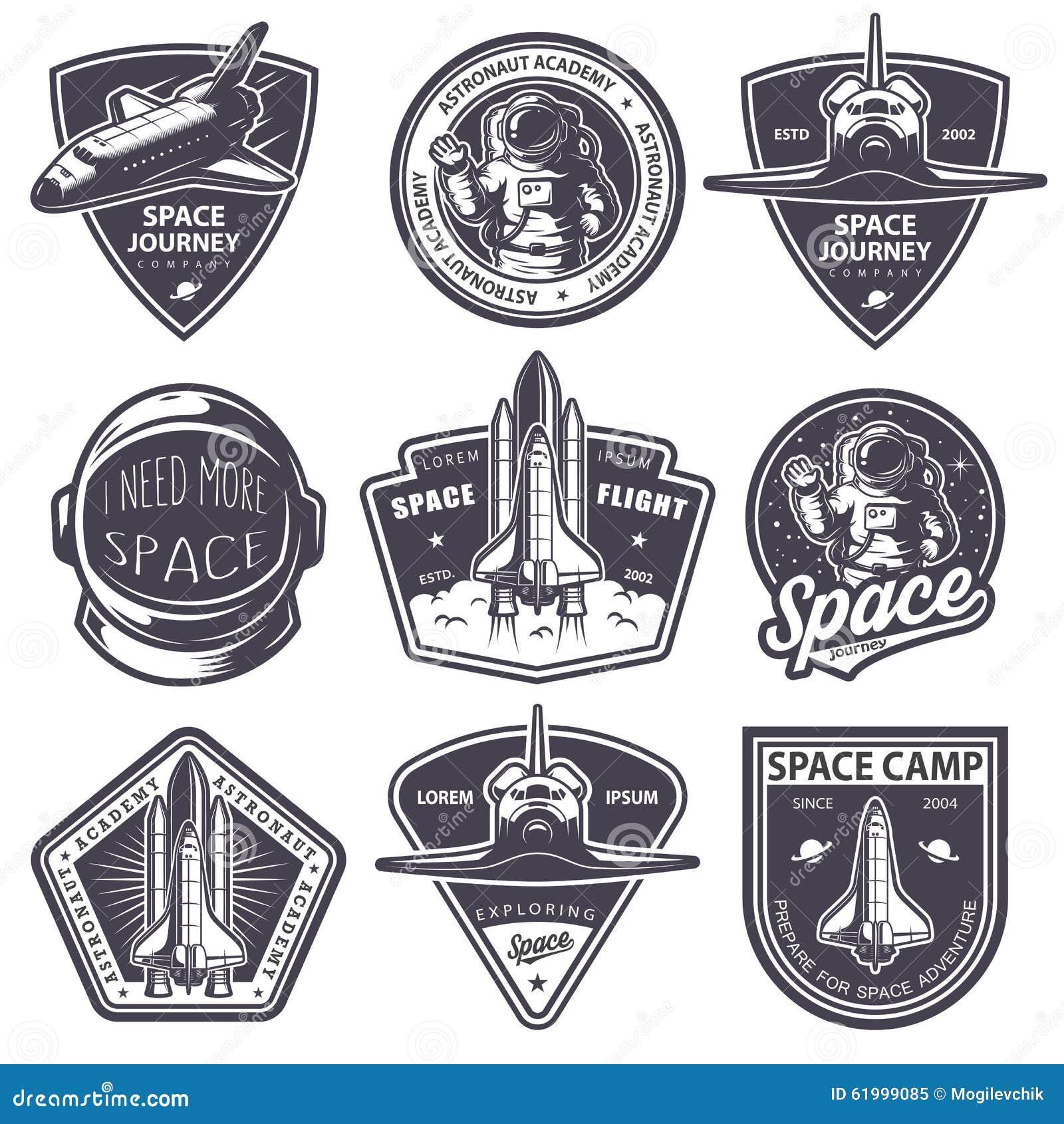 Sistema de insignias del espacio y del astronauta del vintage