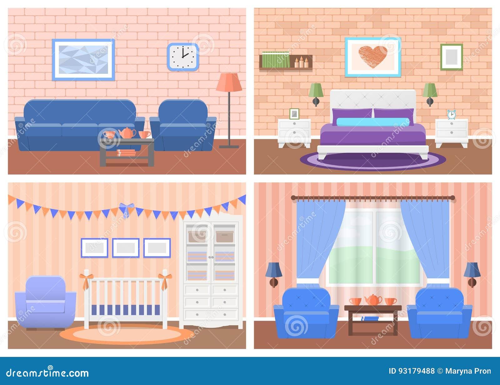 Sistema De Interiores De Los Cuartos En Diseño Plano Ilustración Del ...