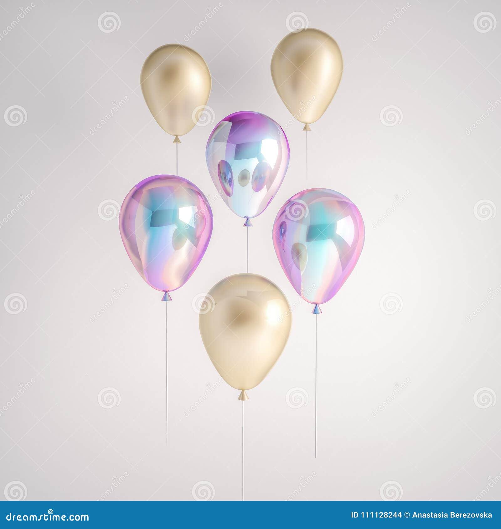 Sistema de irisación olográfico y de globos de la hoja de oro aislados en fondo gris Elementos realistas de moda del diseño 3d pa