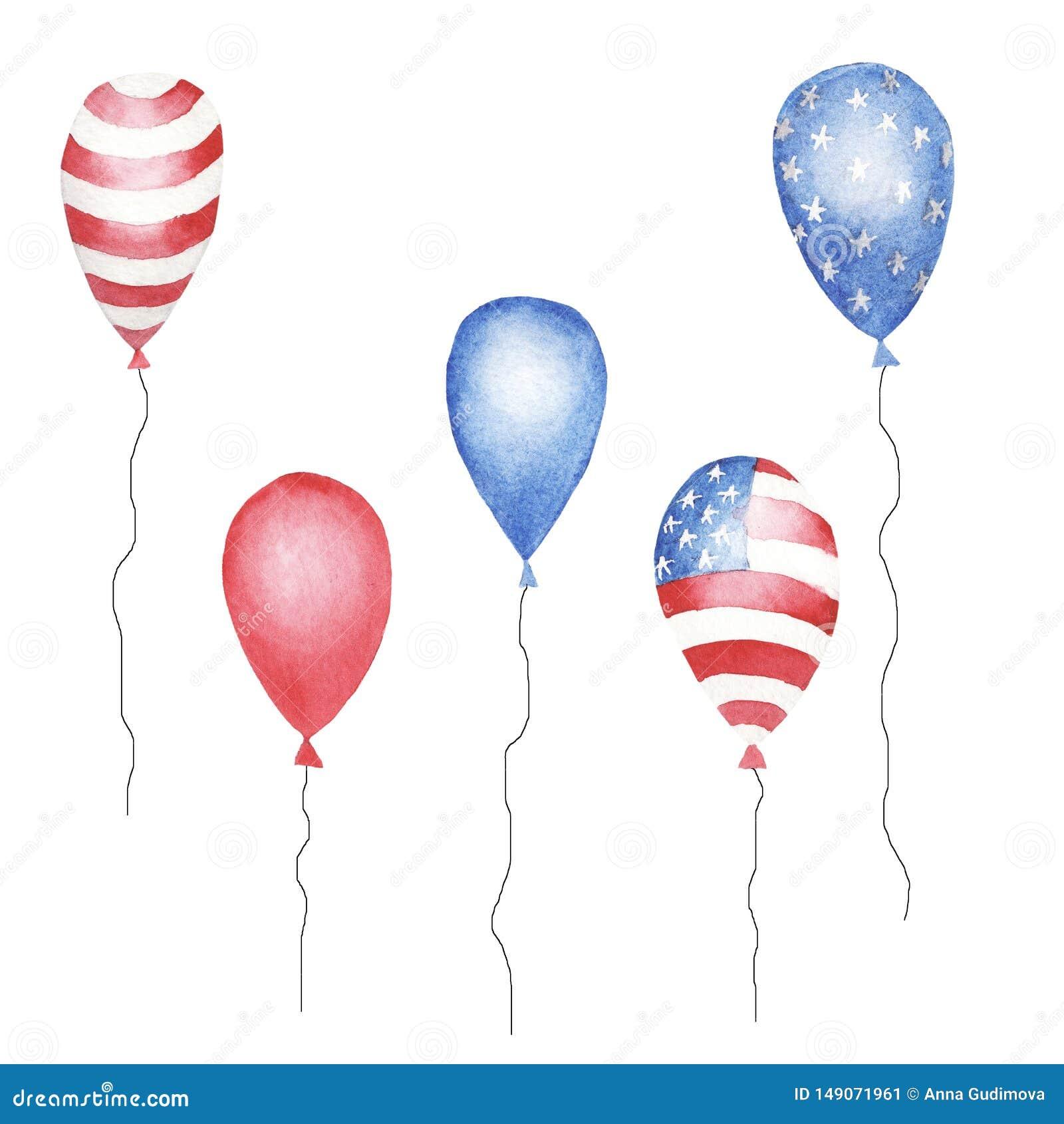 Sistema de la acuarela de baloons azules, rojos del color rayado y de estrellas