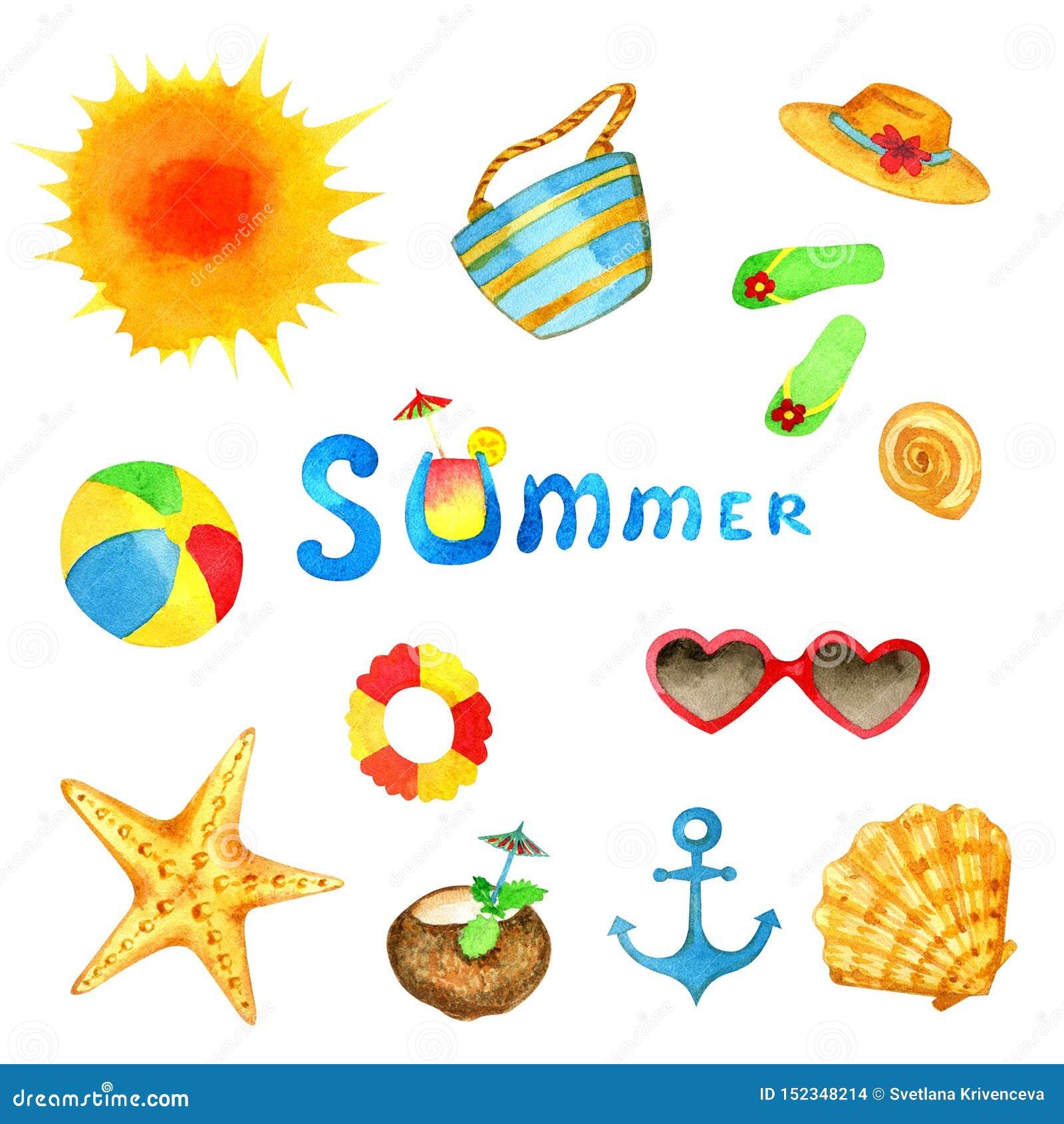 Sistema de la acuarela del verano