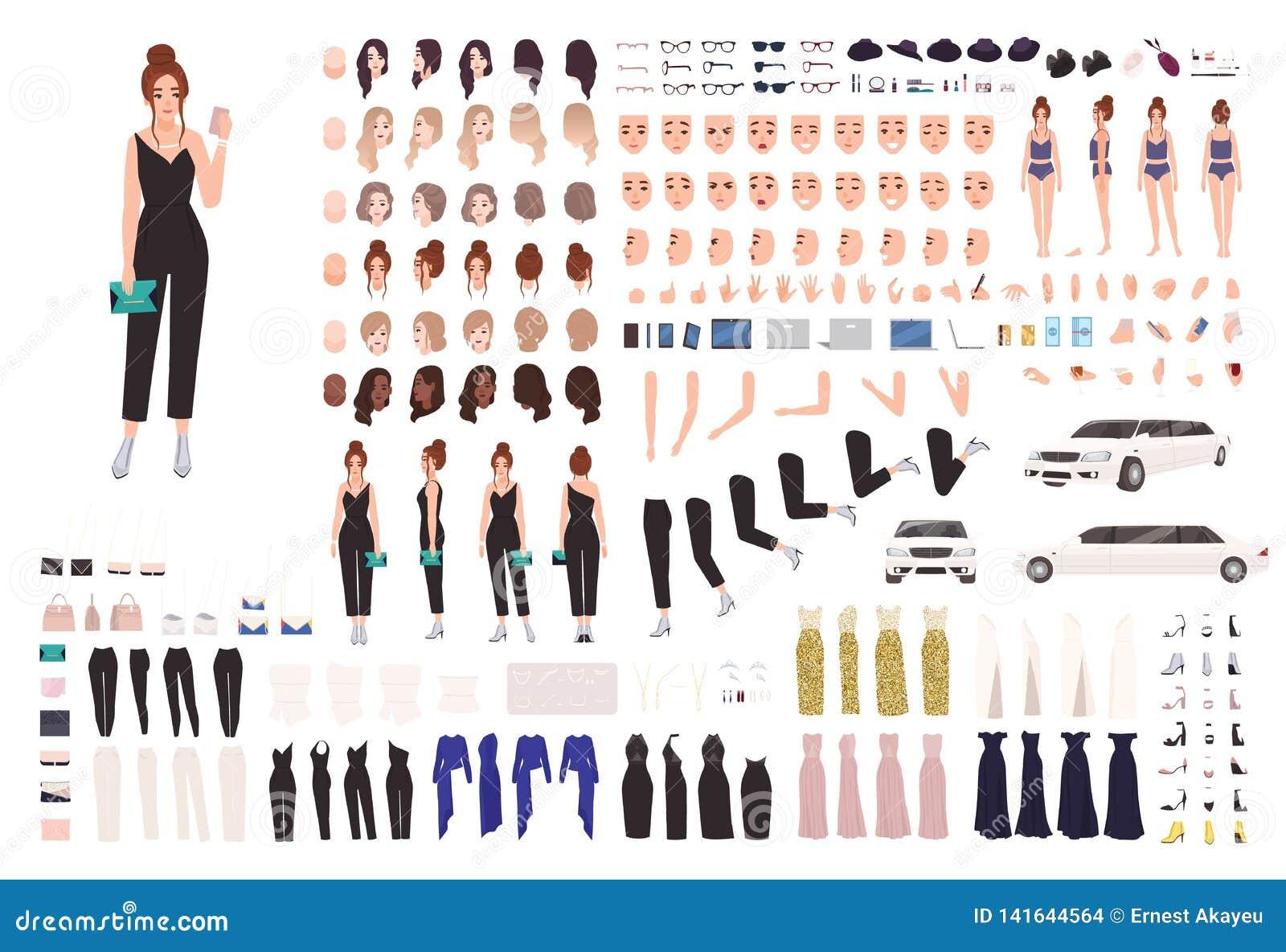 Sistema de la animación de la mujer joven o equipo elegante del constructor Colección de partes del cuerpo, gestos, posturas, rop