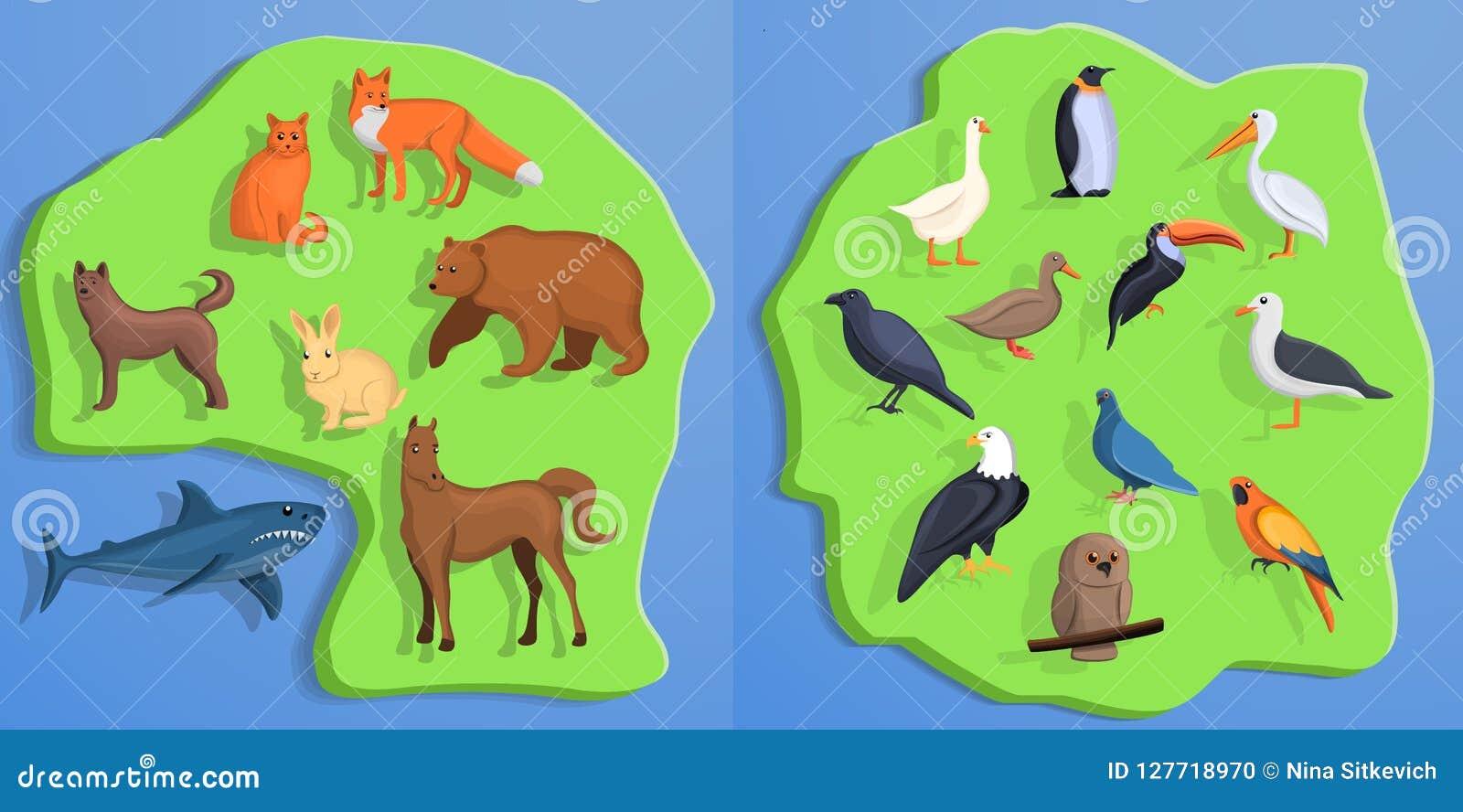 Sistema de la bandera de los animales, estilo de la historieta