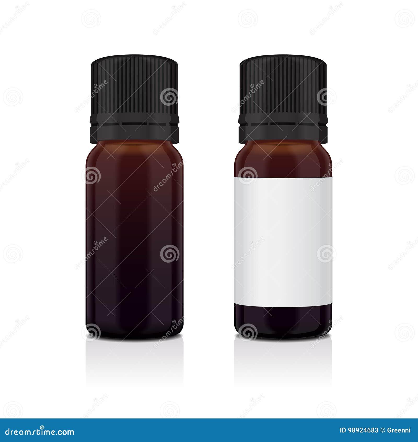 Sistema de la botella realista del marrón del aceite esencial Imite encima del cosmético o del frasco médico, frasco, ejemplo de