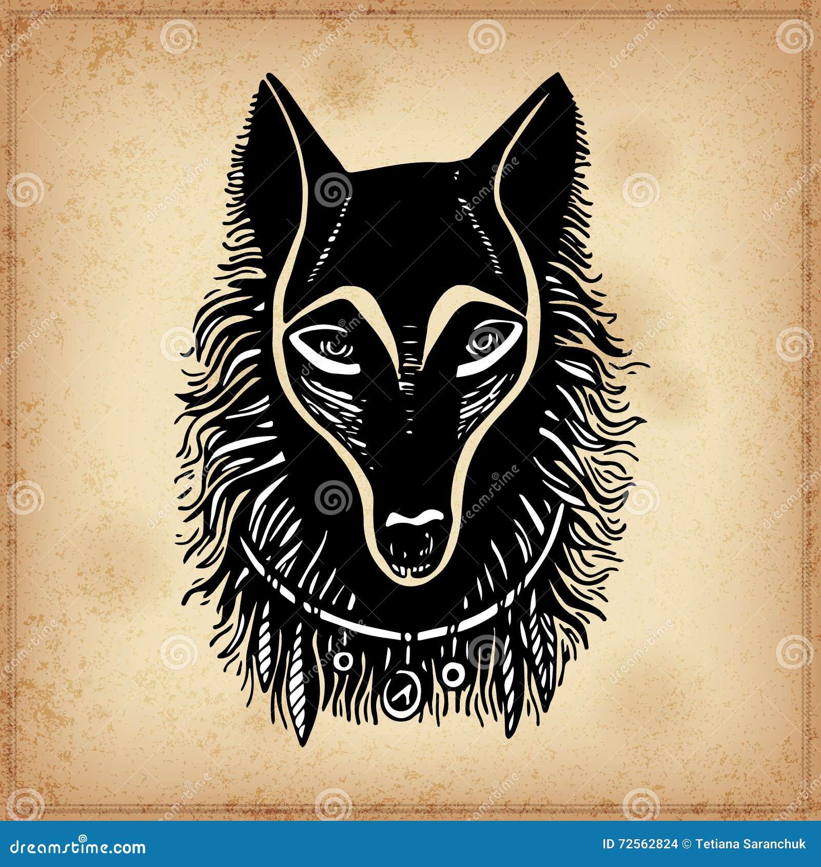 Sistema De La Cara Blanco Y Negro Del Lobo De La Tinta De Dibujo De