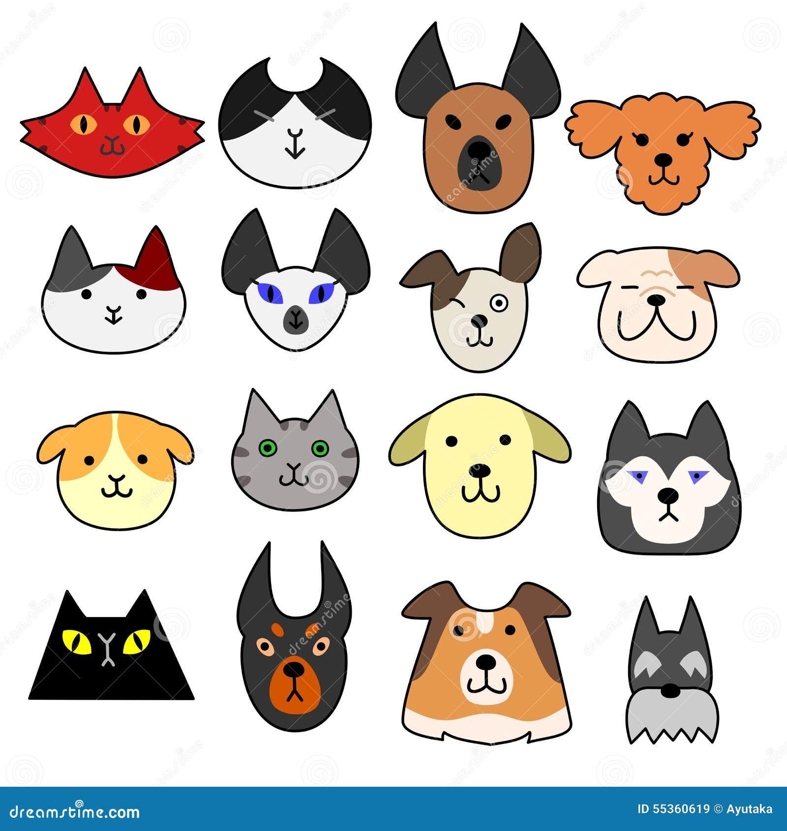 sistema de la cara de perros y de gatos ilustraci n del