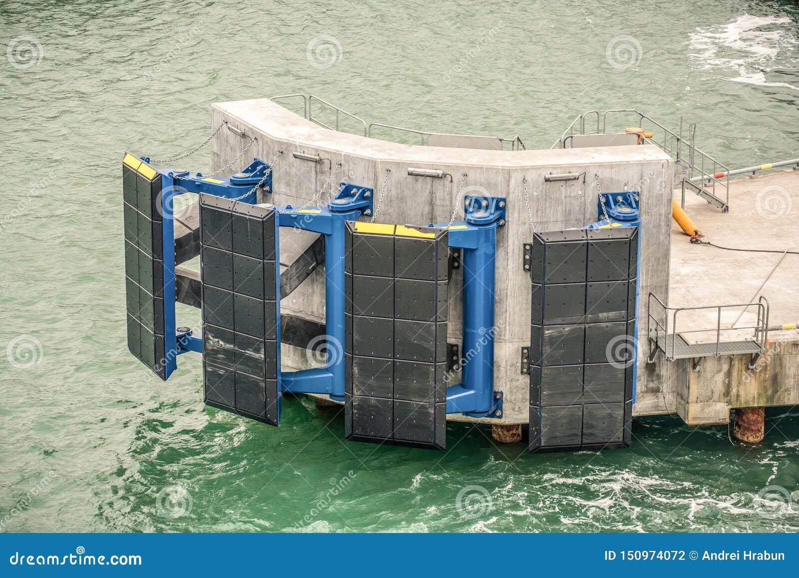Sistema de la defensa del embarcadero para proteger el embarcadero contra daño de la nave