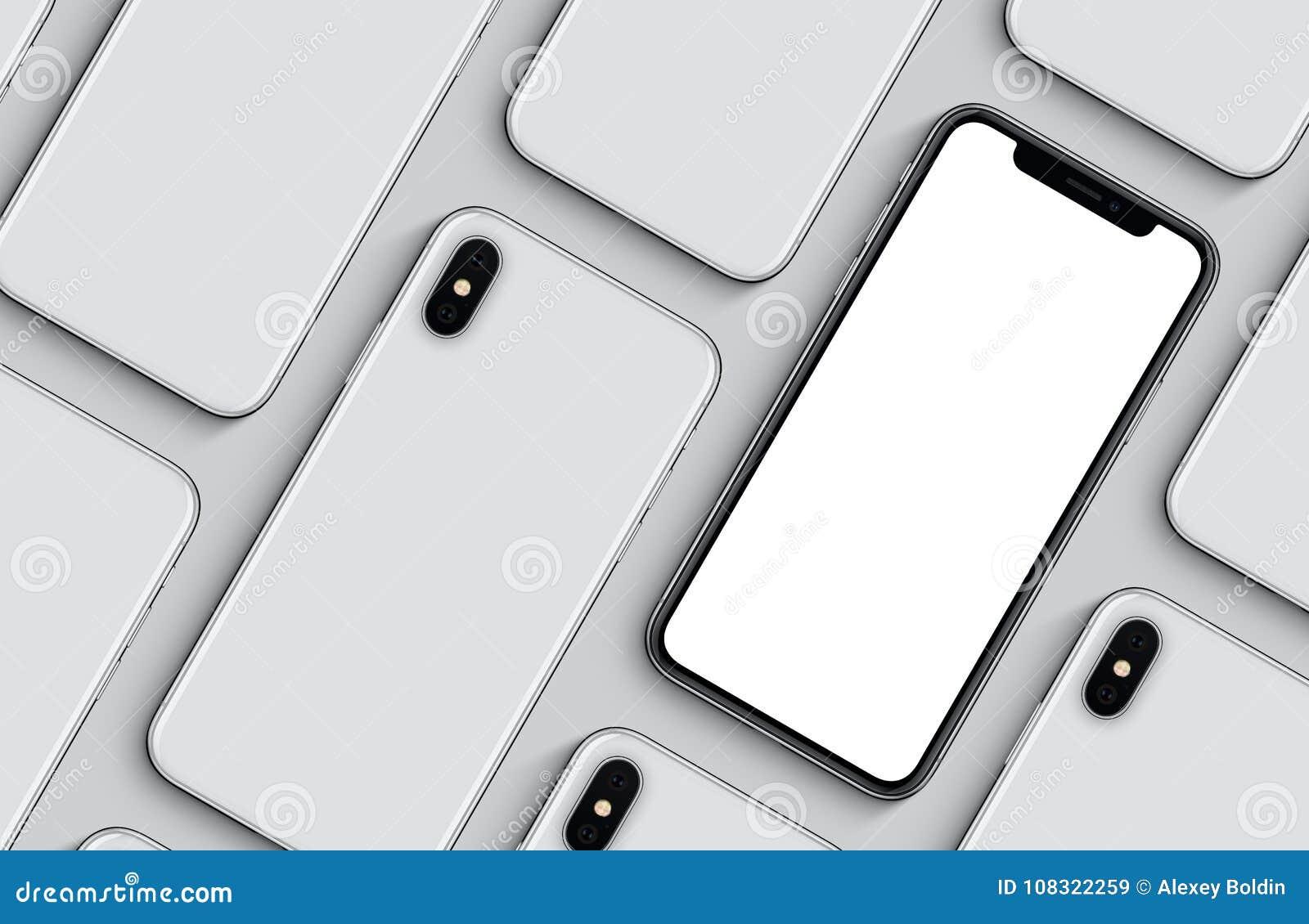 Sistema de la endecha plana de la opinión superior de los lados delanteros y traseros del modelo de la maqueta de los smartphones