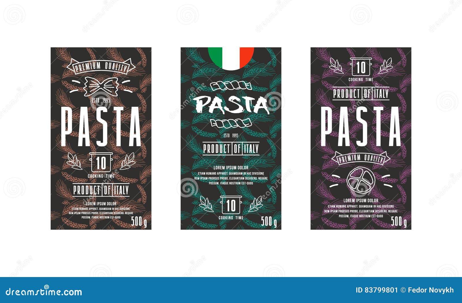 Sistema De La Etiqueta De Las Plantillas Para Las Pastas Ilustración ...