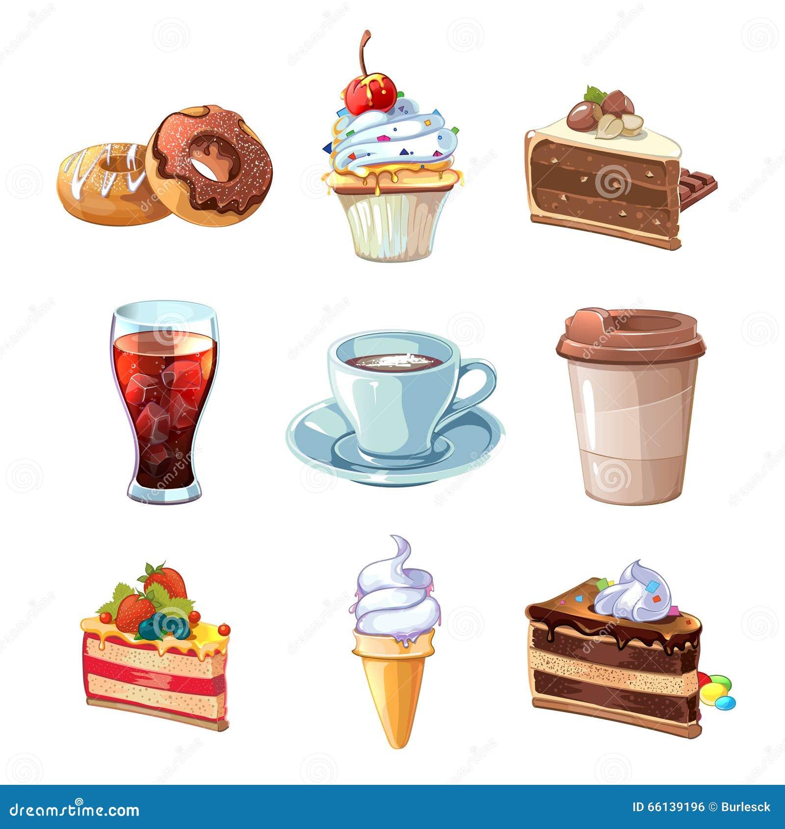 Sistema de la historieta del vector de los productos del café de la calle Chocolate, magdalena, torta, taza de café, buñuelo, col