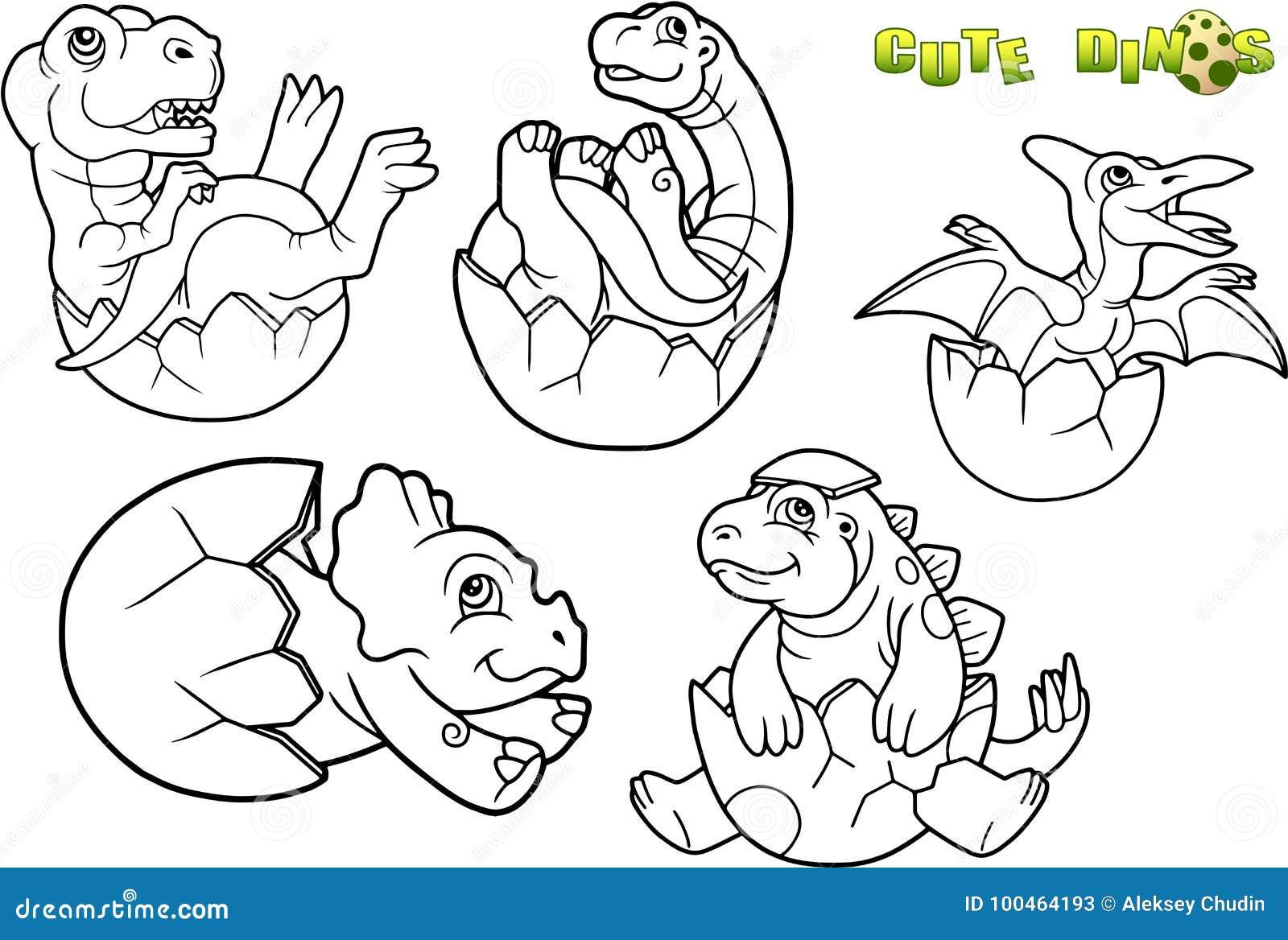 Sistema De La Imagen Del Dinosaurio Del Bebé Ilustración Del Vector