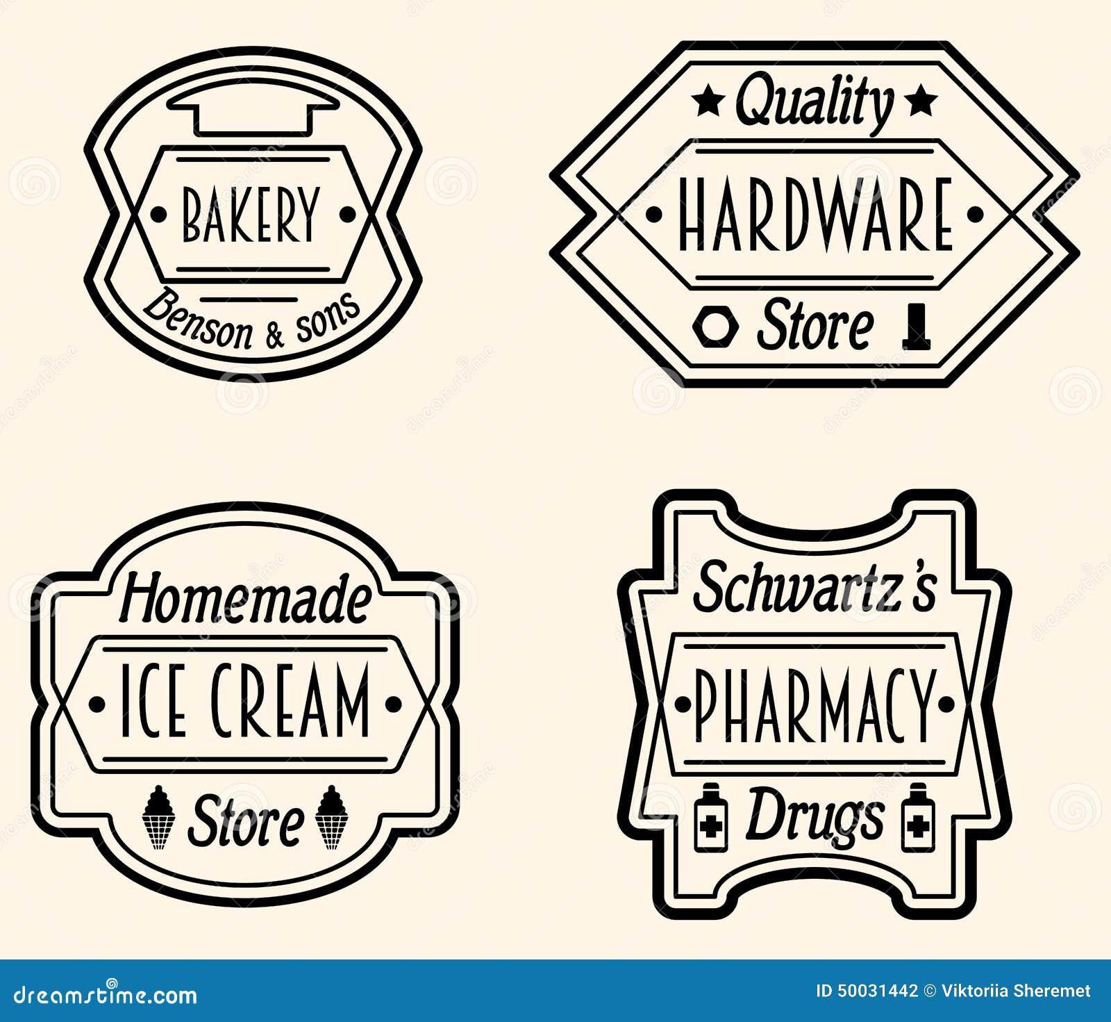 Sistema de la insignia o de Logo Design Elements, vector Illustratio del vintage