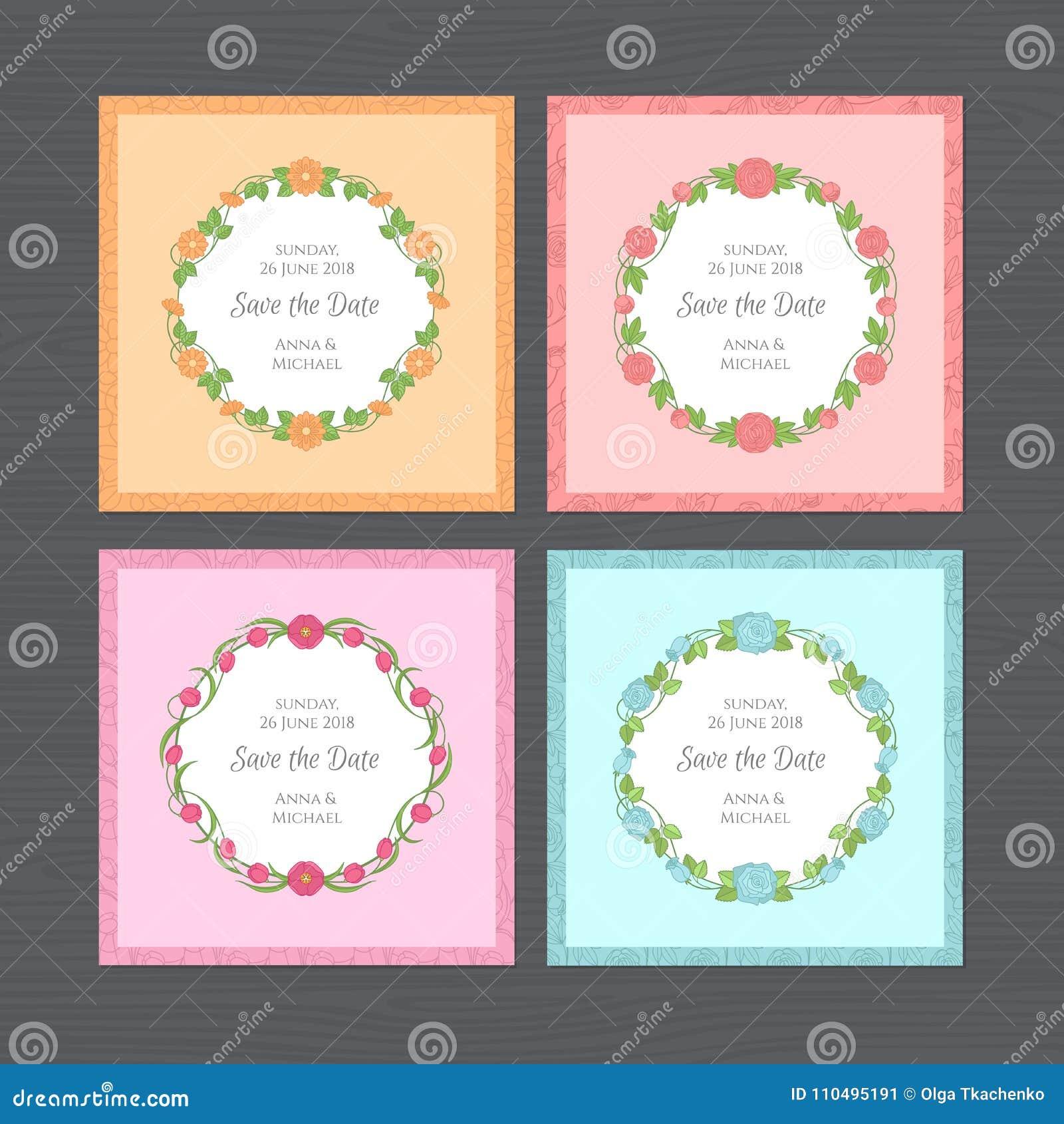 Sistema de la invitación de la boda Tarjeta de felicitación con el marco redondo de la flor W