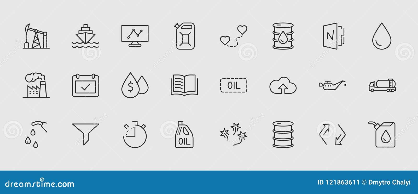 Sistema de la línea del petróleo iconos del vector Contiene los iconos tales como el camión de combustible, gasolinera, fábrica d