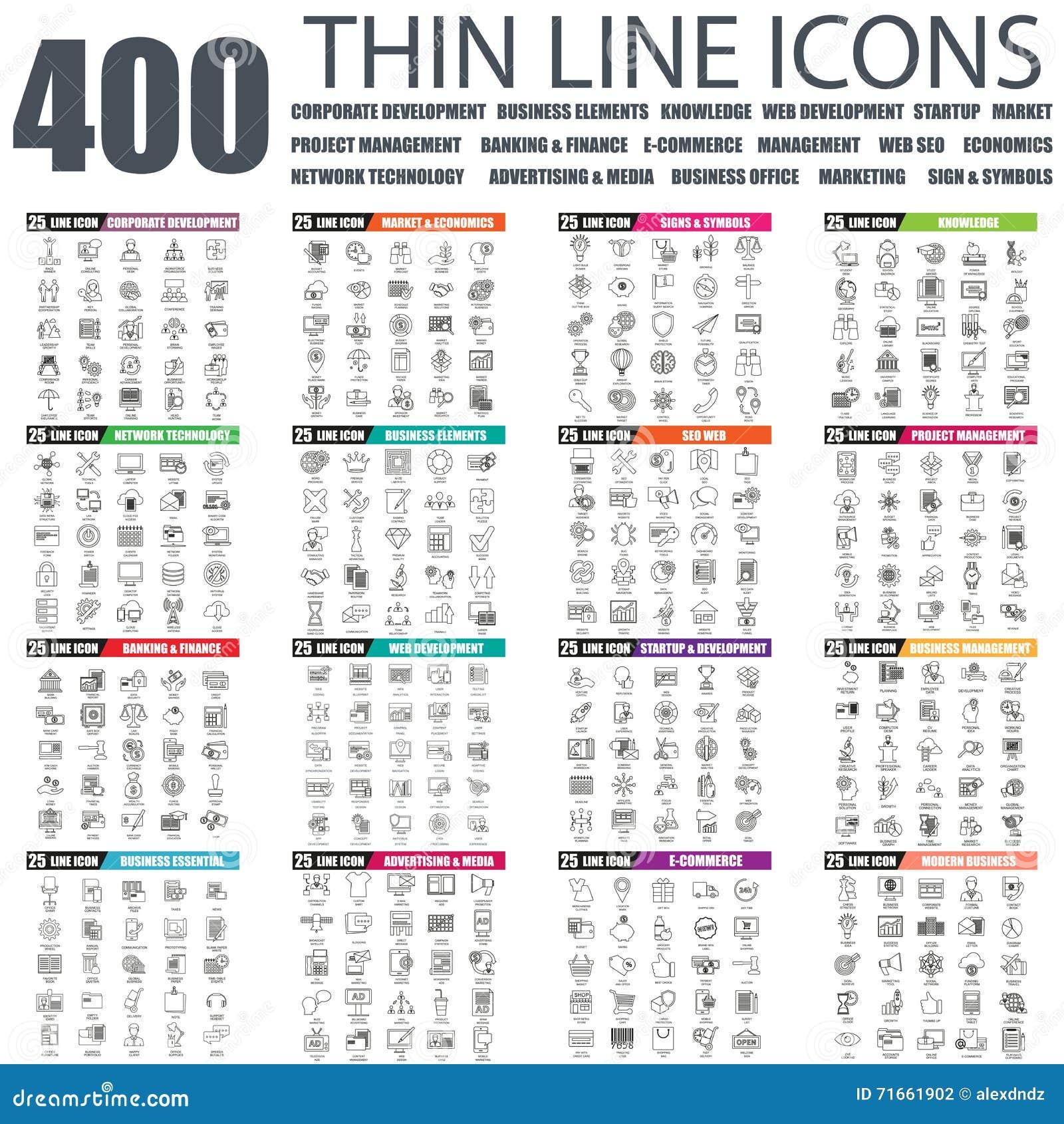 Sistema de la línea fina plana iconos del web del negocio