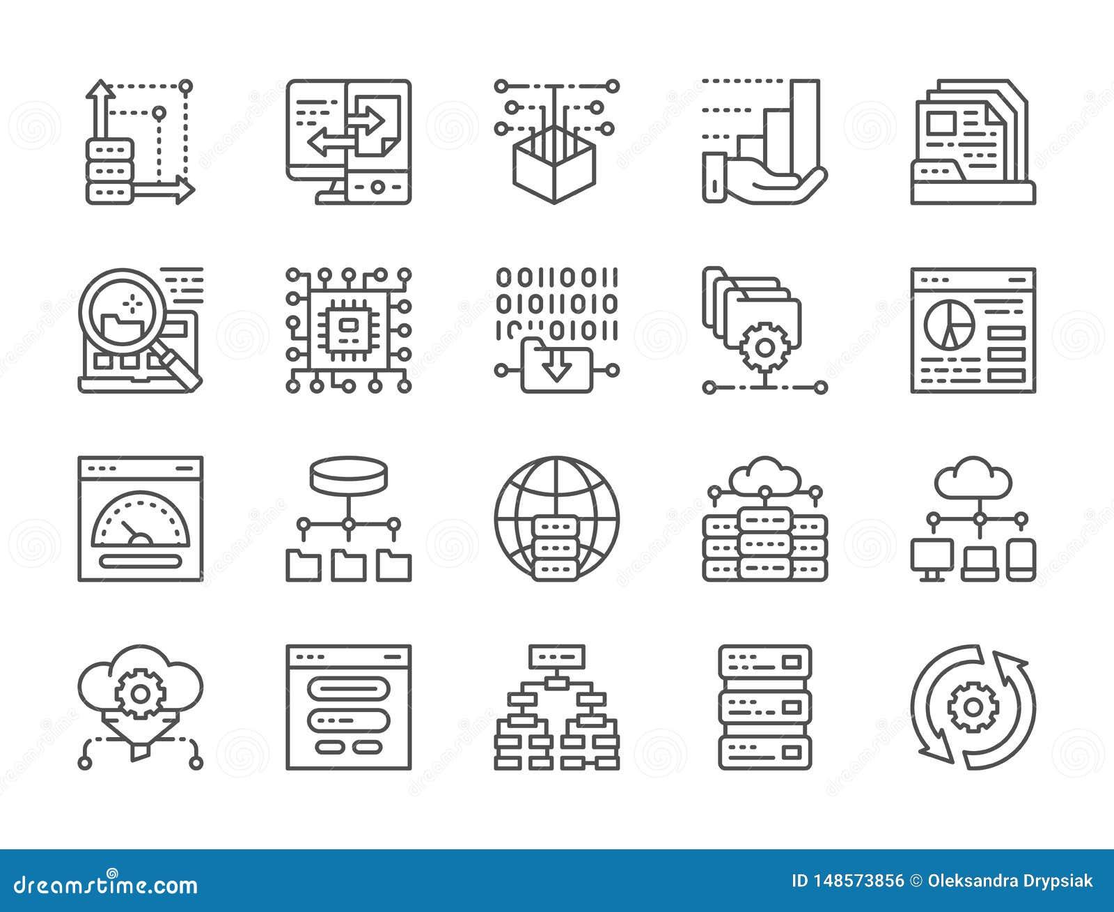 Sistema de la línea iconos del análisis de datos Recibimiento, algoritmo del programa, base de datos y más