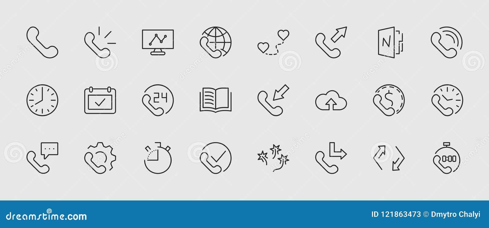 Sistema de la línea iconos del vector del teléfono Contiene los símbolos de las llamadas entrantes, salientes, faltadas, llamada