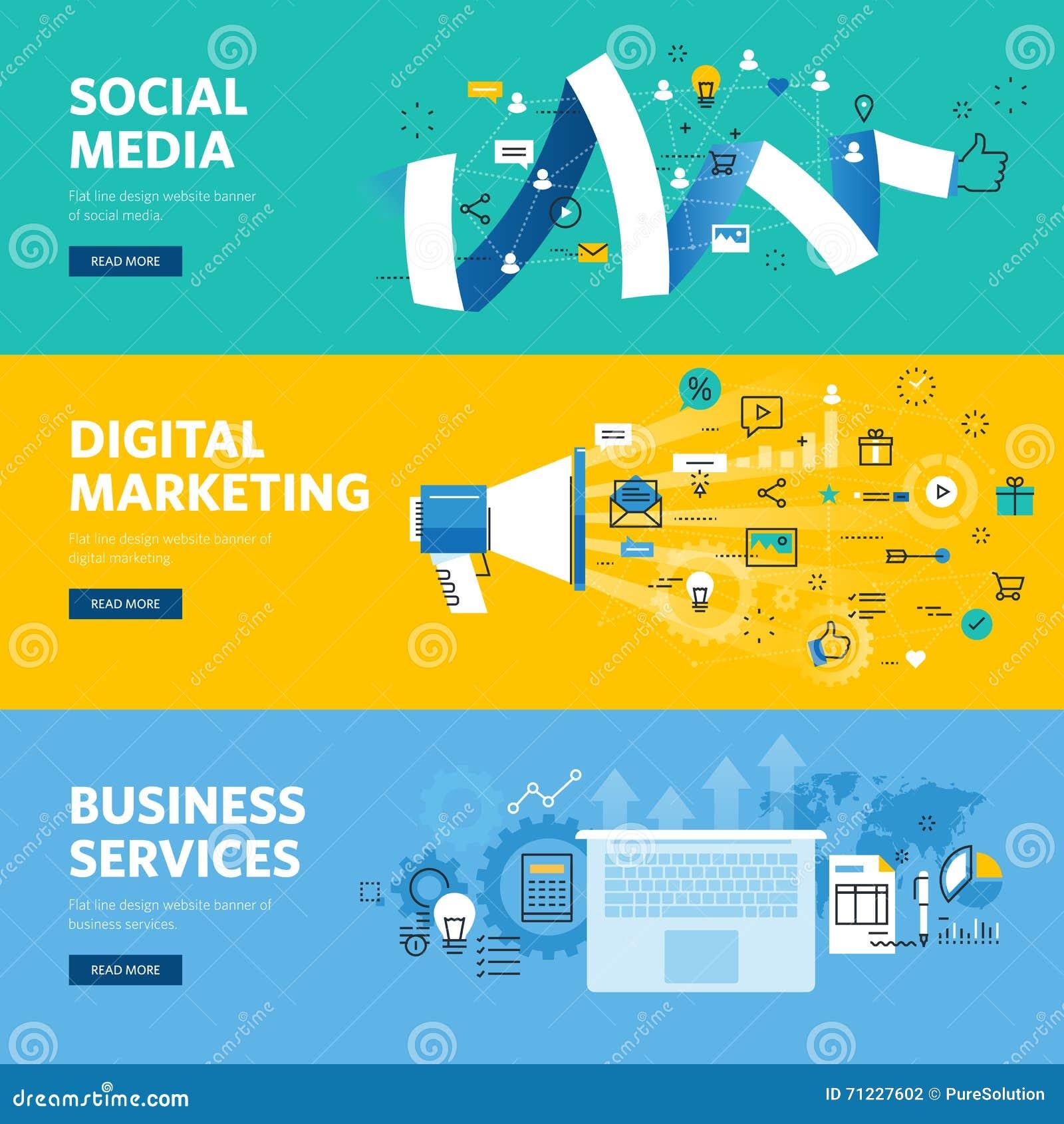 Sistema de la línea plana banderas del web del diseño para los medios, el márketing de Internet, el establecimiento de una red y